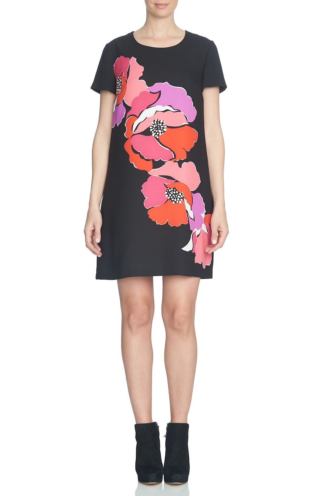 Main Image - CeCe 'Melody Corsage' Print Short Sleeve Shift Dress