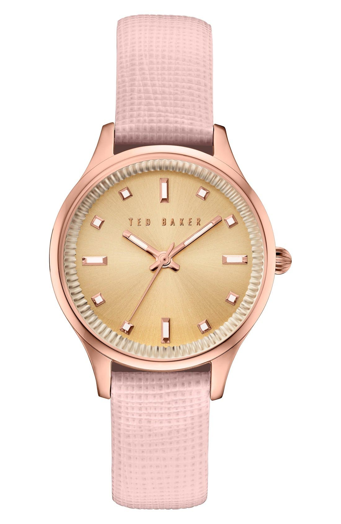 Ted Baker London 'Dress Sport' Multifunction Leather Strap Watch, 32mm