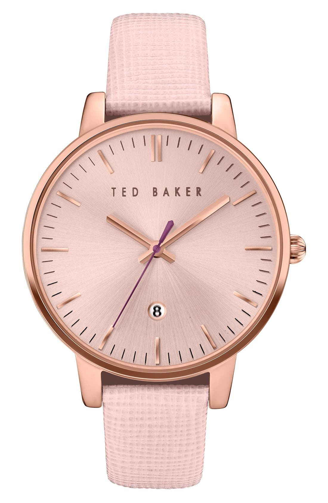 Leather Strap Watch, 40mm,                         Main,                         color, Pink/ Rose Gold