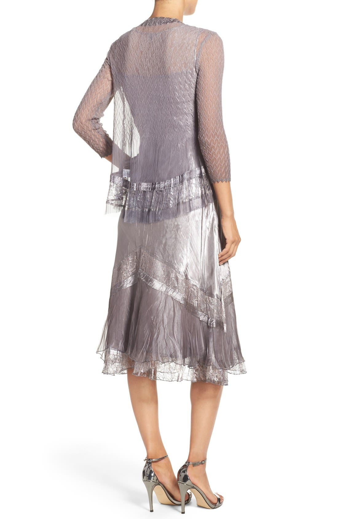 Ombré Charmeuse A-Line Dress & Chiffon Jacket,                             Alternate thumbnail 3, color,                             Oyster Smoke Ombre