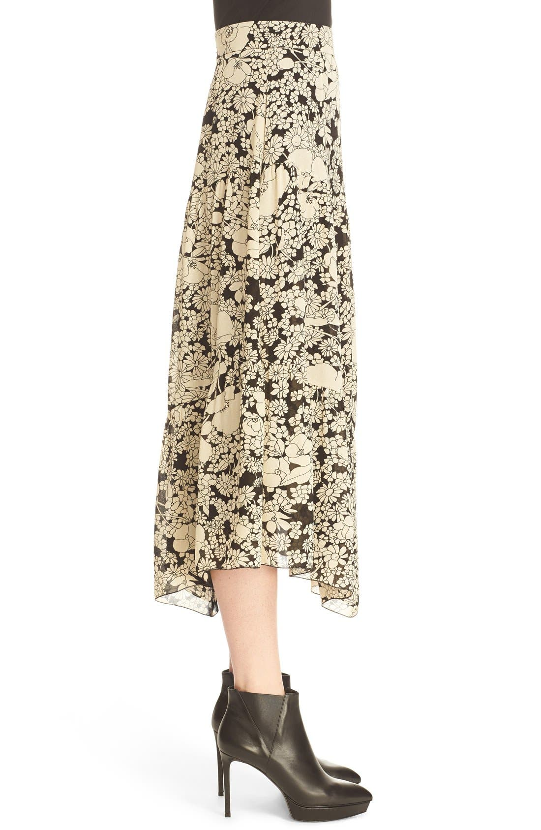 Alternate Image 4  - Saint Laurent Floral Print Crepe Midi Skirt