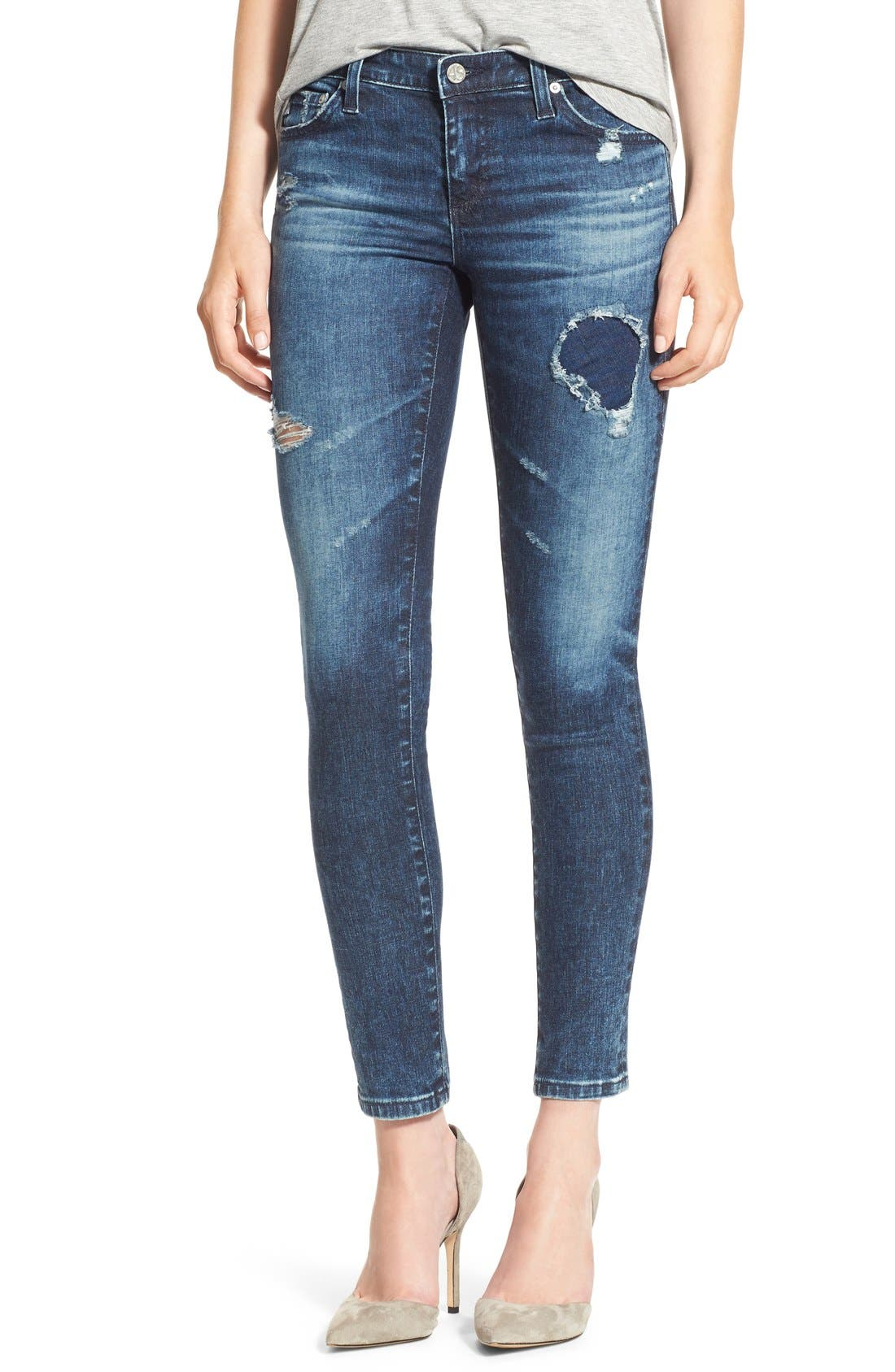 Alternate Image 1 Selected - AG 'The Legging' Ankle Super Skinny Jeans (13 Years Dawn Mended)