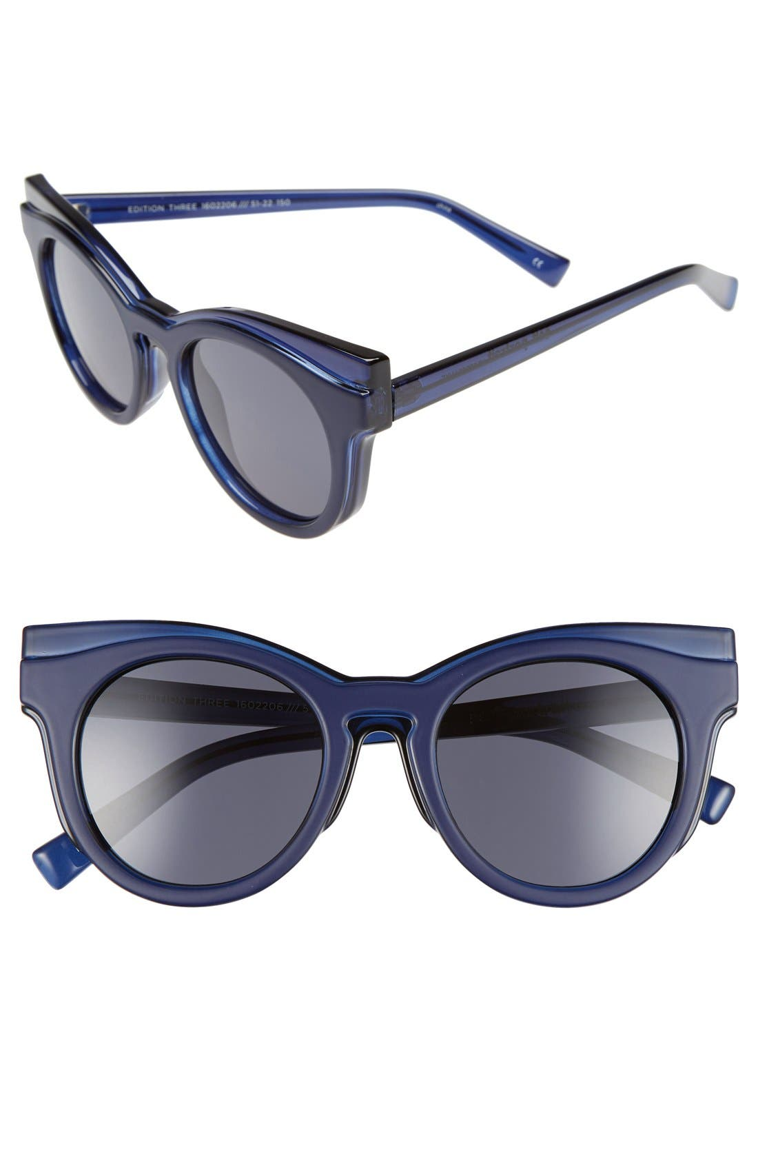 'Edition Three' 51mm Cat Eye Sunglasses,                             Main thumbnail 1, color,                             Matte Grey/ Matte Navy
