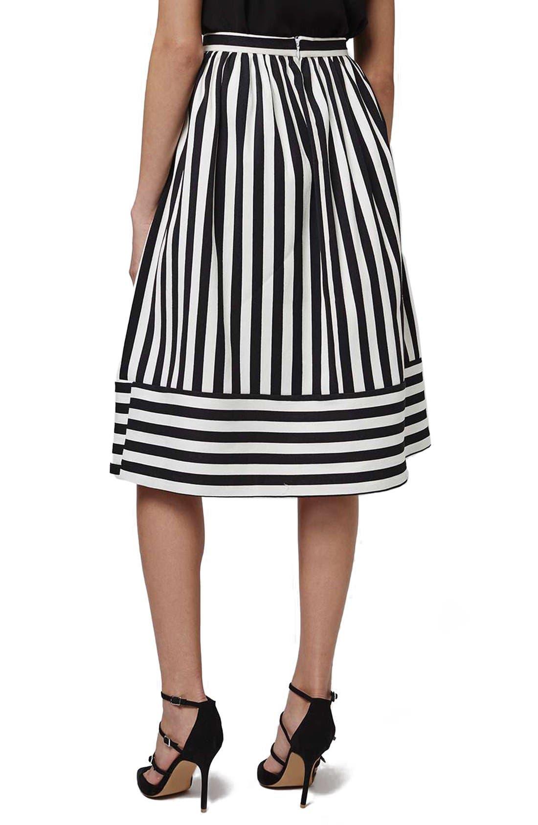Alternate Image 3  - Topshop Horizontal Hem Stripe A-Line Midi Skirt