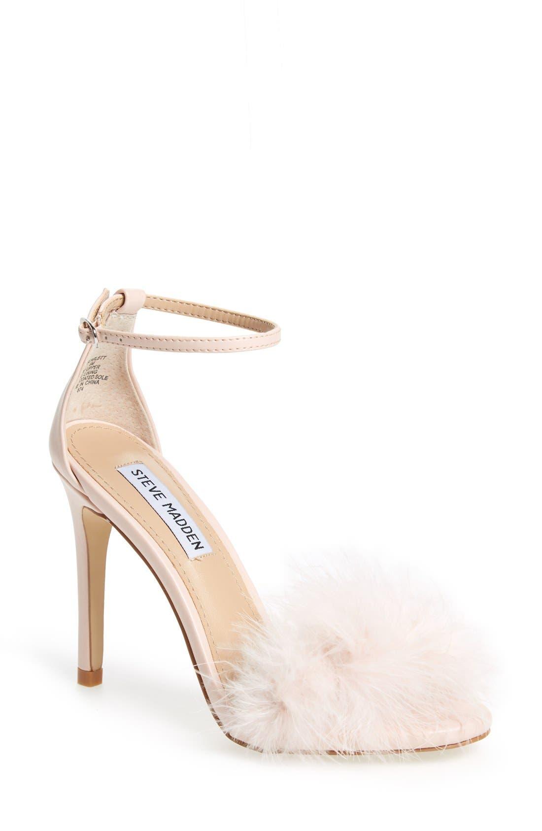 Main Image - Steve Madden 'Scarlett' Marabou Evening Sandal (Women)