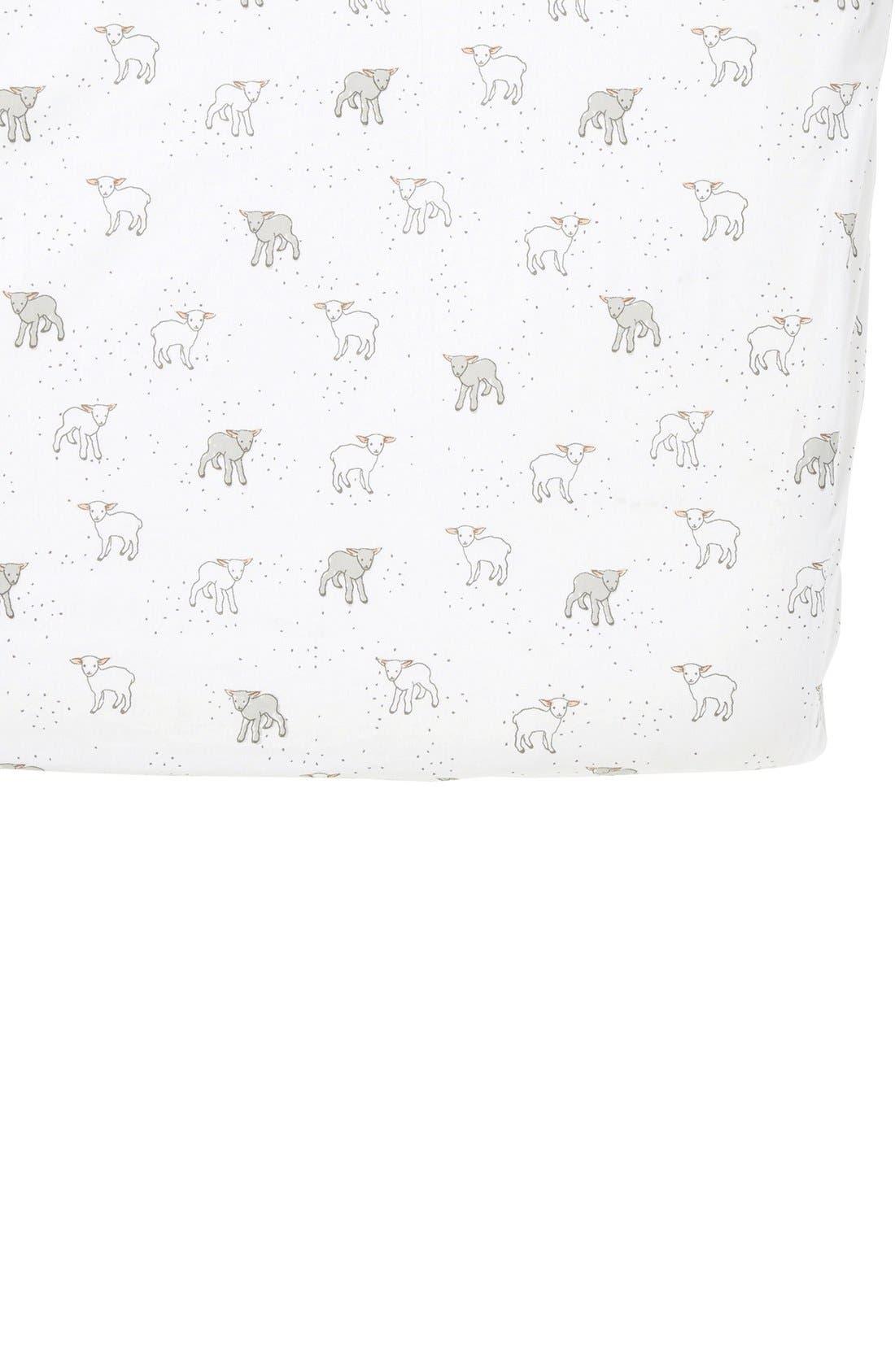 Lamb Crib Sheet,                         Main,                         color, Cream