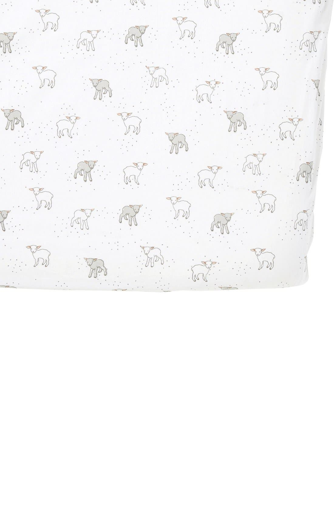 Lamb Crib Sheet,                         Main,                         color, Cream