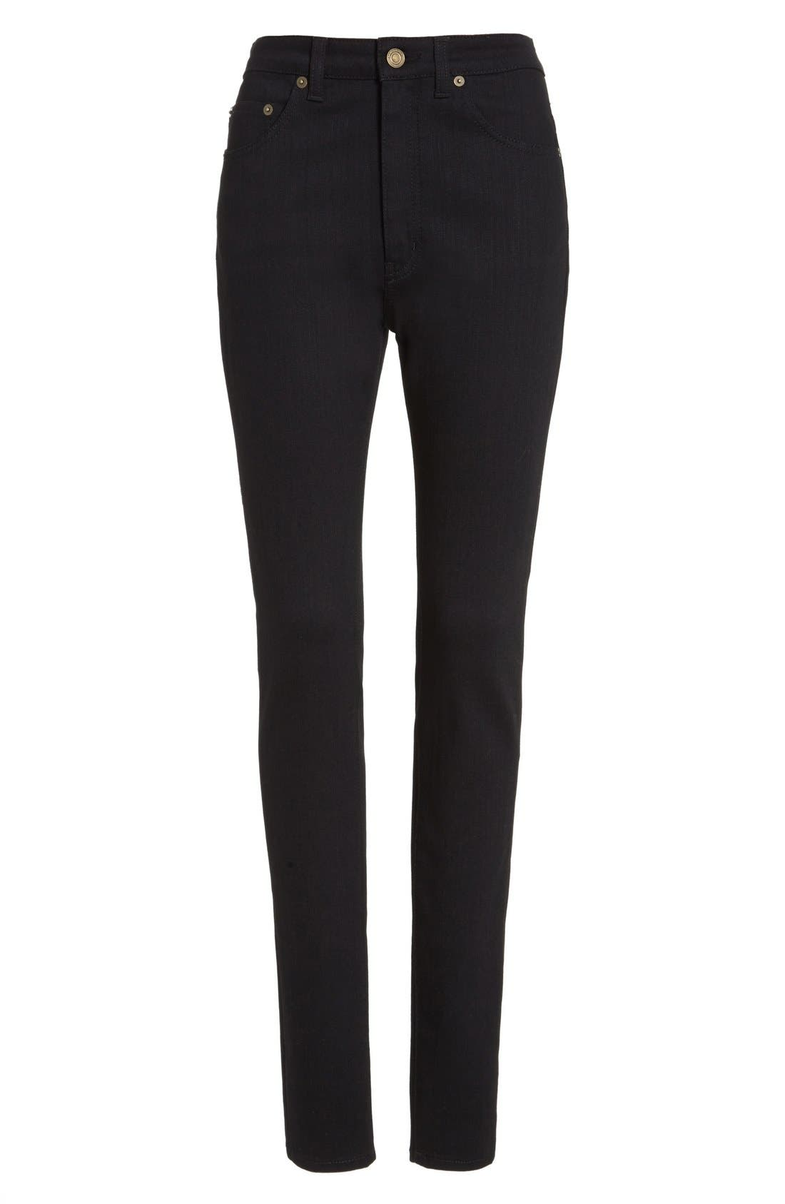 High Rise Skinny Jeans,                             Alternate thumbnail 4, color,                             Black