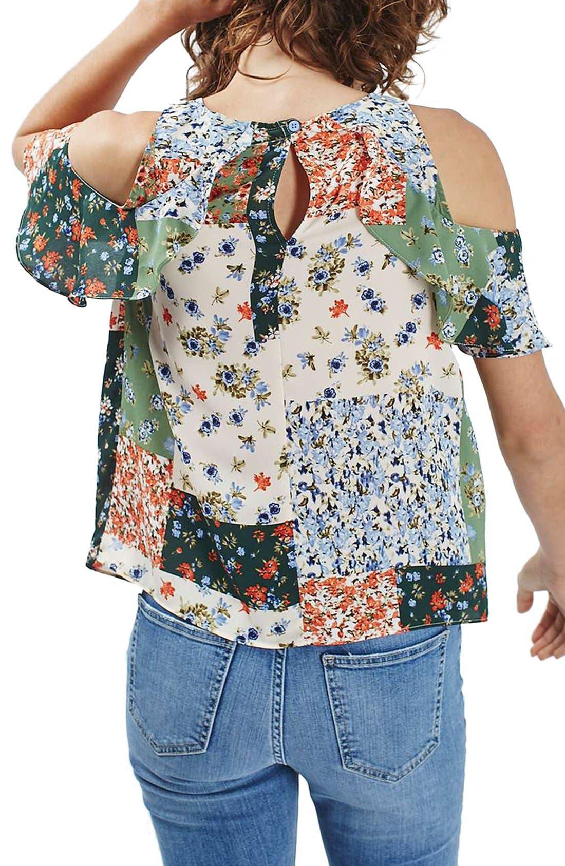 Alternate Image 2  - Topshop Patchwork Floral Ruffle Cold Shoulder Blouse