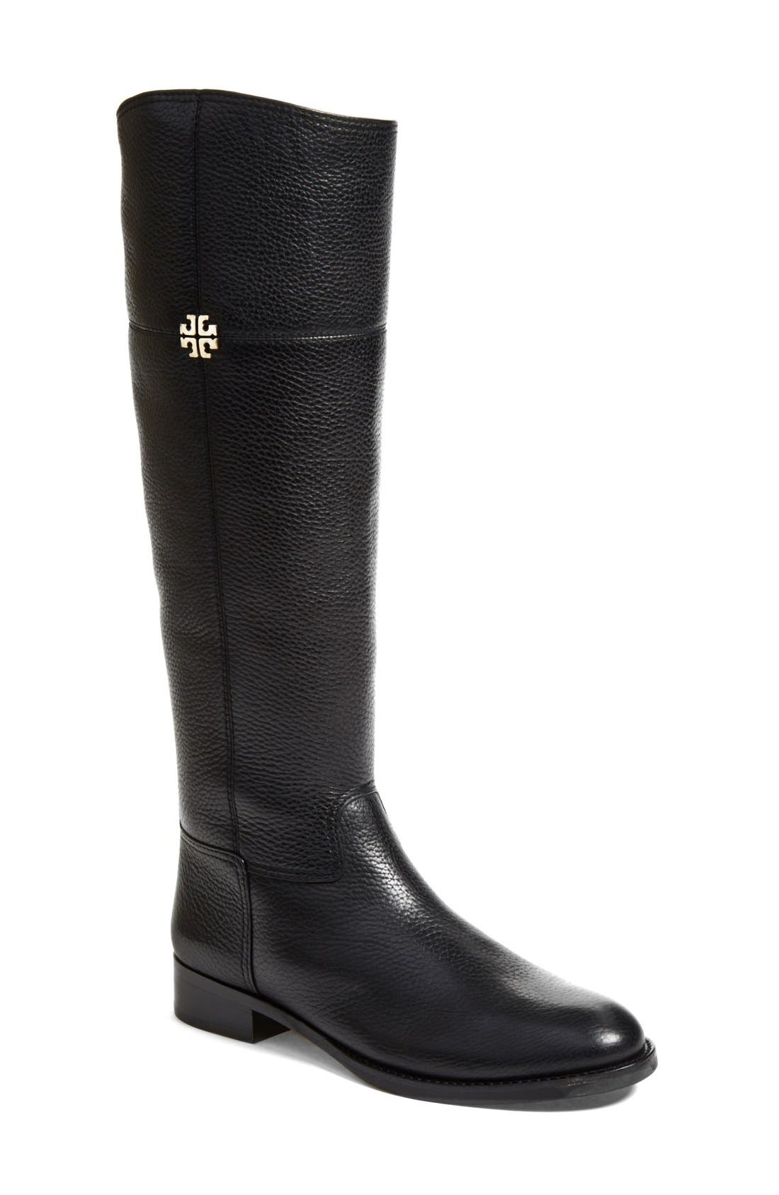 'Jolie' Riding Boot,                             Main thumbnail 1, color,                             Black Tumbled Leather