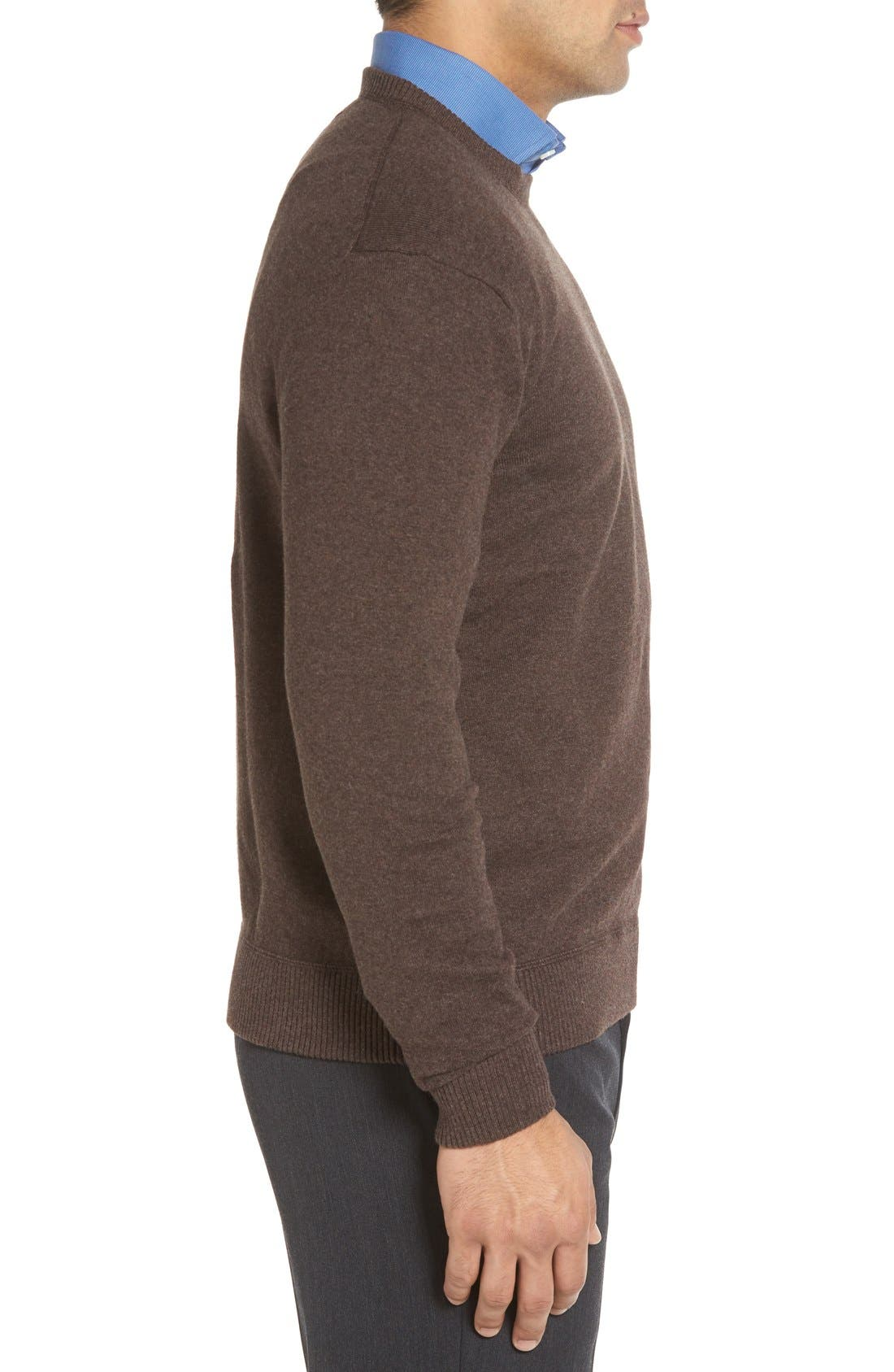 'Jersey Sport' Cotton Blend Crewneck Sweater,                             Alternate thumbnail 3, color,                             Coffee