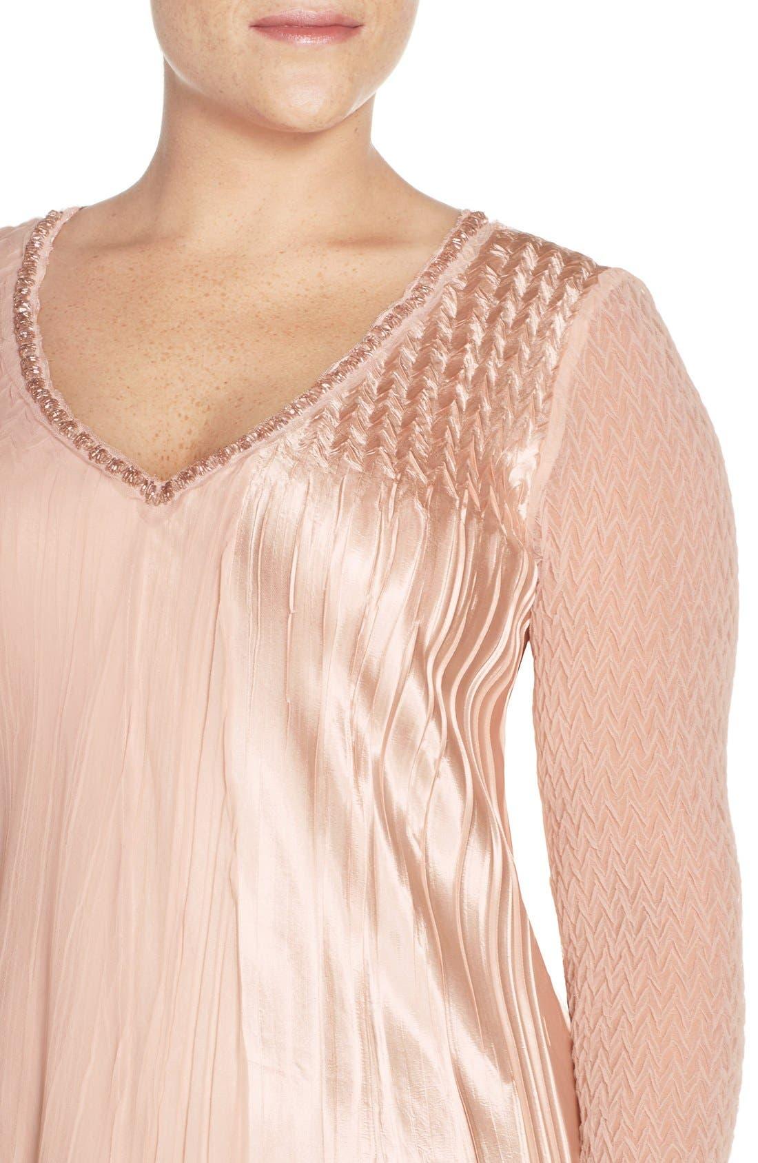 V-Neck Tiered Chiffon & Charmeuse A-Line Dress,                             Alternate thumbnail 4, color,                             Vintage Rose