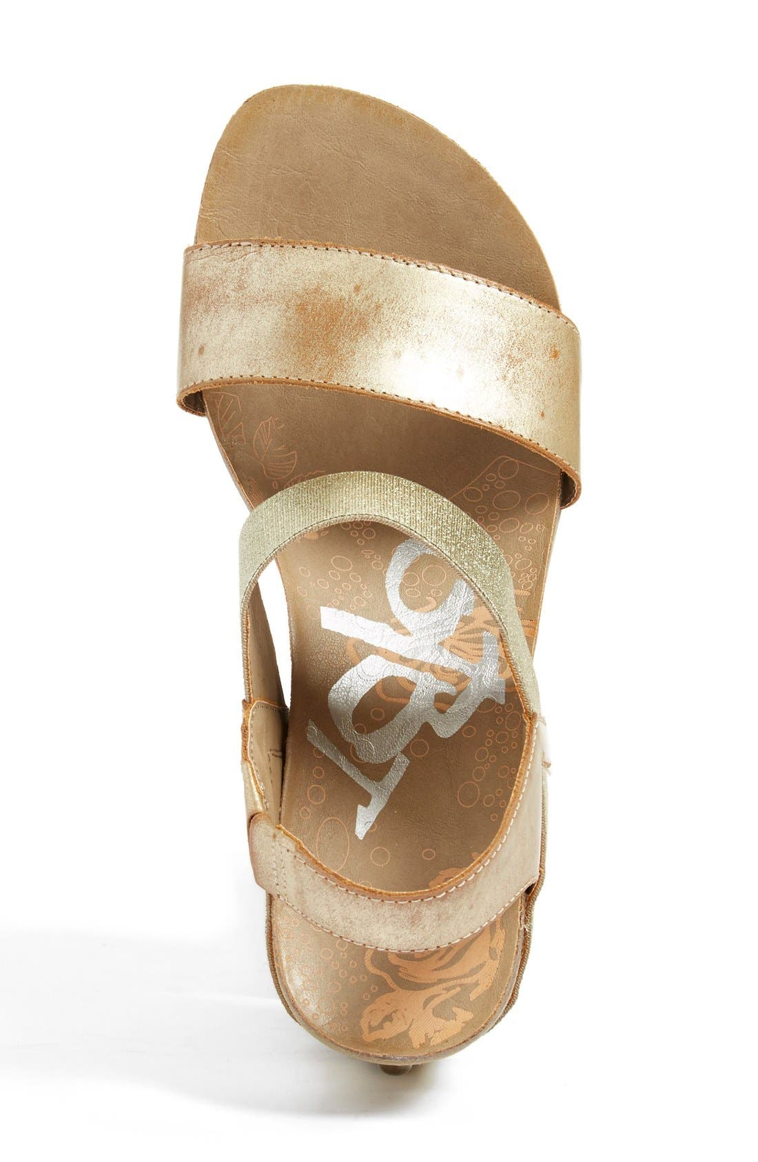 'Bushnell' Wedge Sandal,                             Alternate thumbnail 3, color,                             Gold