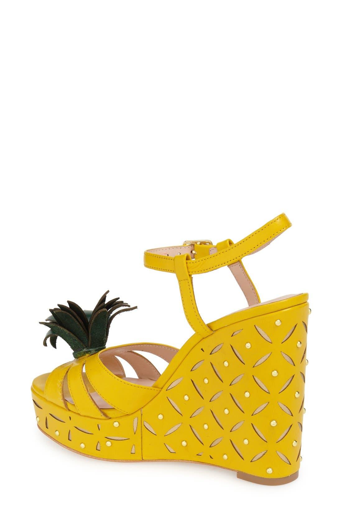 'dominica' pineapple wedge sandal,                             Alternate thumbnail 2, color,                             Dark Yellow Vachetta