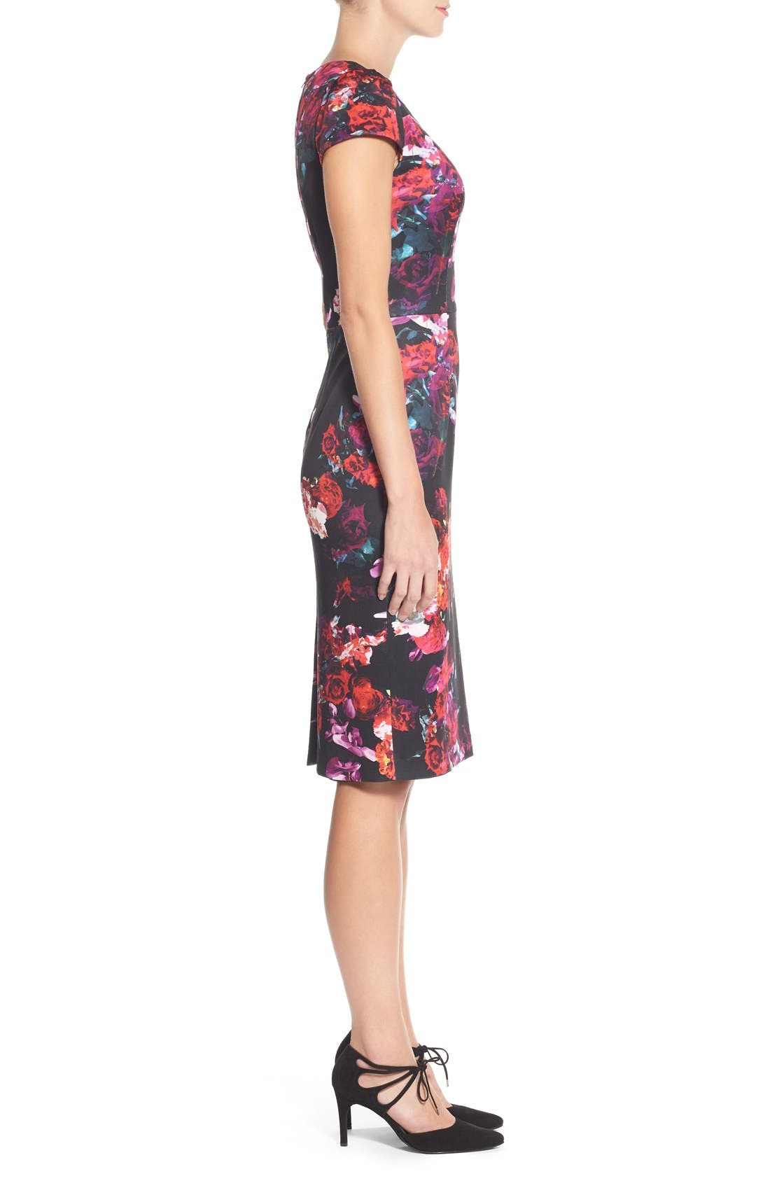 Alternate Image 3  - Betsey Johnson Floral Print Knit Sheath Dress
