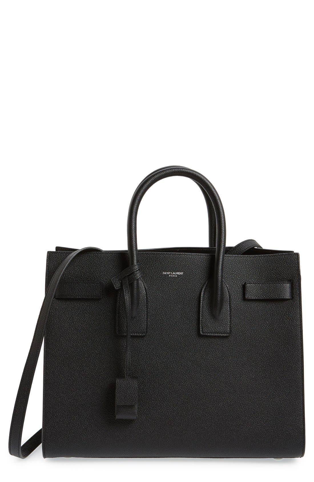 'Small Sac de Jour' Leather Tote,                         Main,                         color, Noir