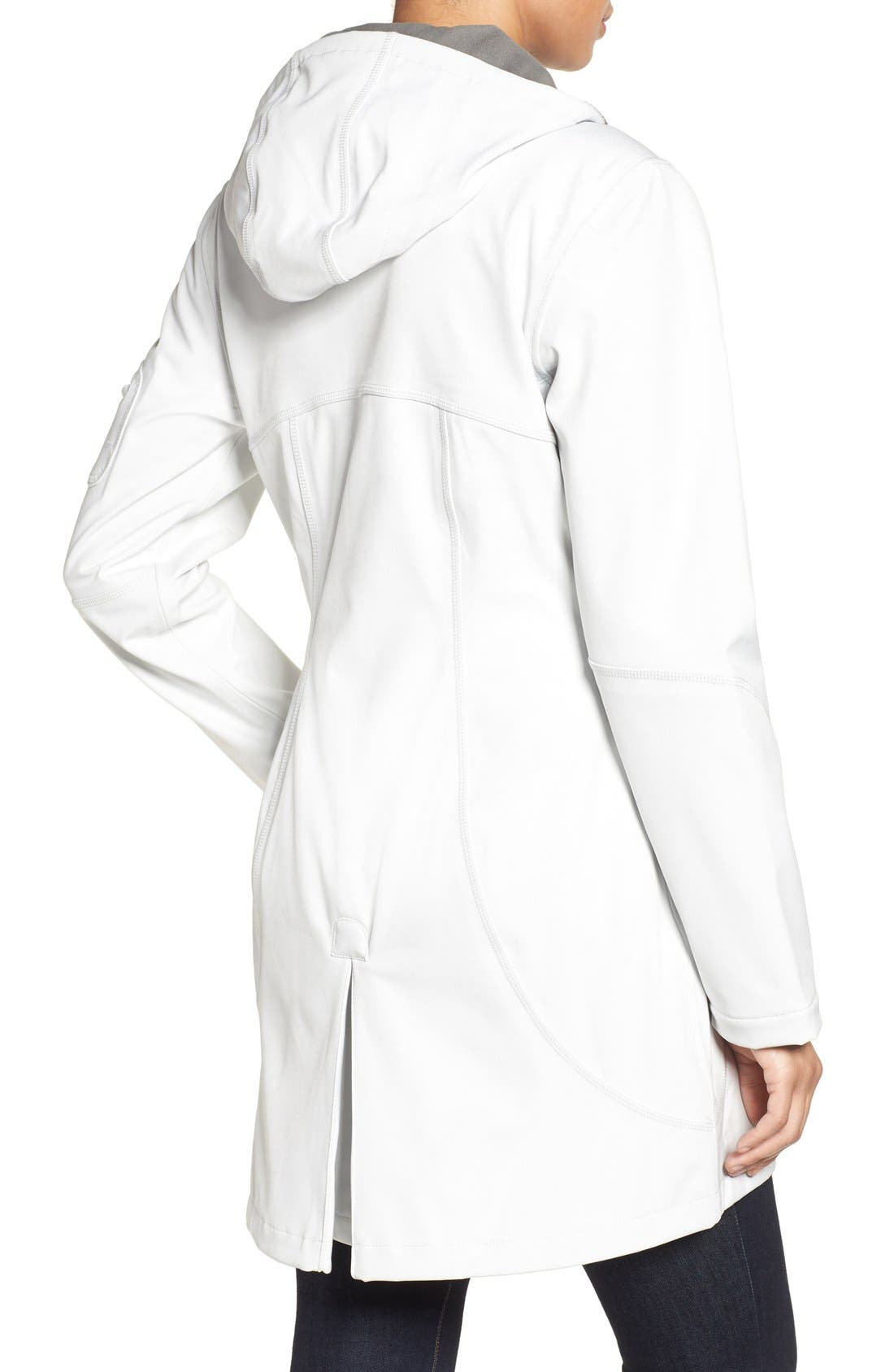 'Rain 7B' Hooded Water Resistant Coat,                             Alternate thumbnail 2, color,                             Creme With Pearl