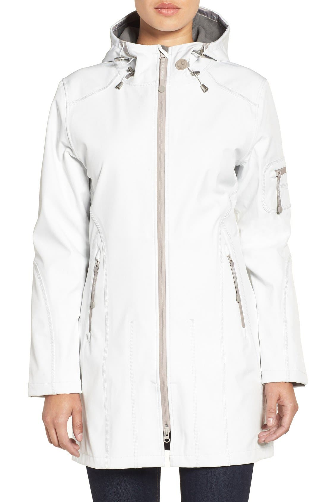 'Rain 7B' Hooded Water Resistant Coat,                             Alternate thumbnail 4, color,                             Creme With Pearl