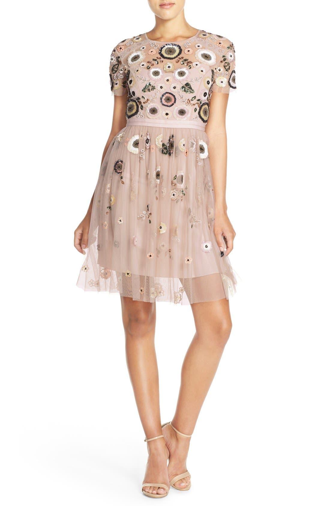 Main Image - Needle & Thread 'Woodland' Embellished Tulle Fit & Flare Dress