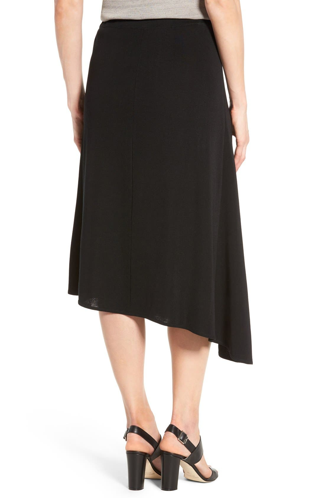 Asymmetrical A-Line Knit Skirt,                             Alternate thumbnail 2, color,                             Black