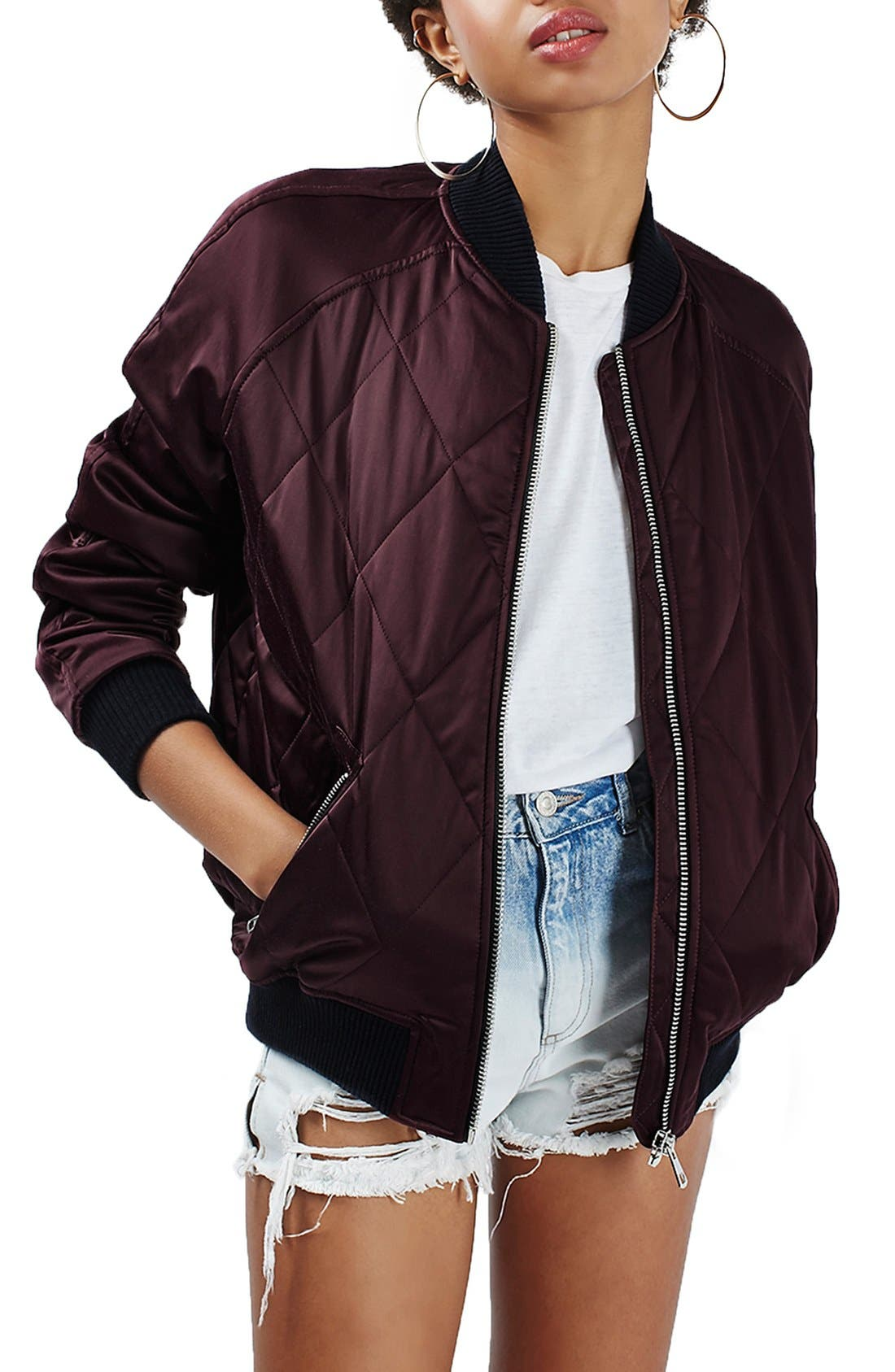 Main Image - Topshop Quilted Bomber Jacket