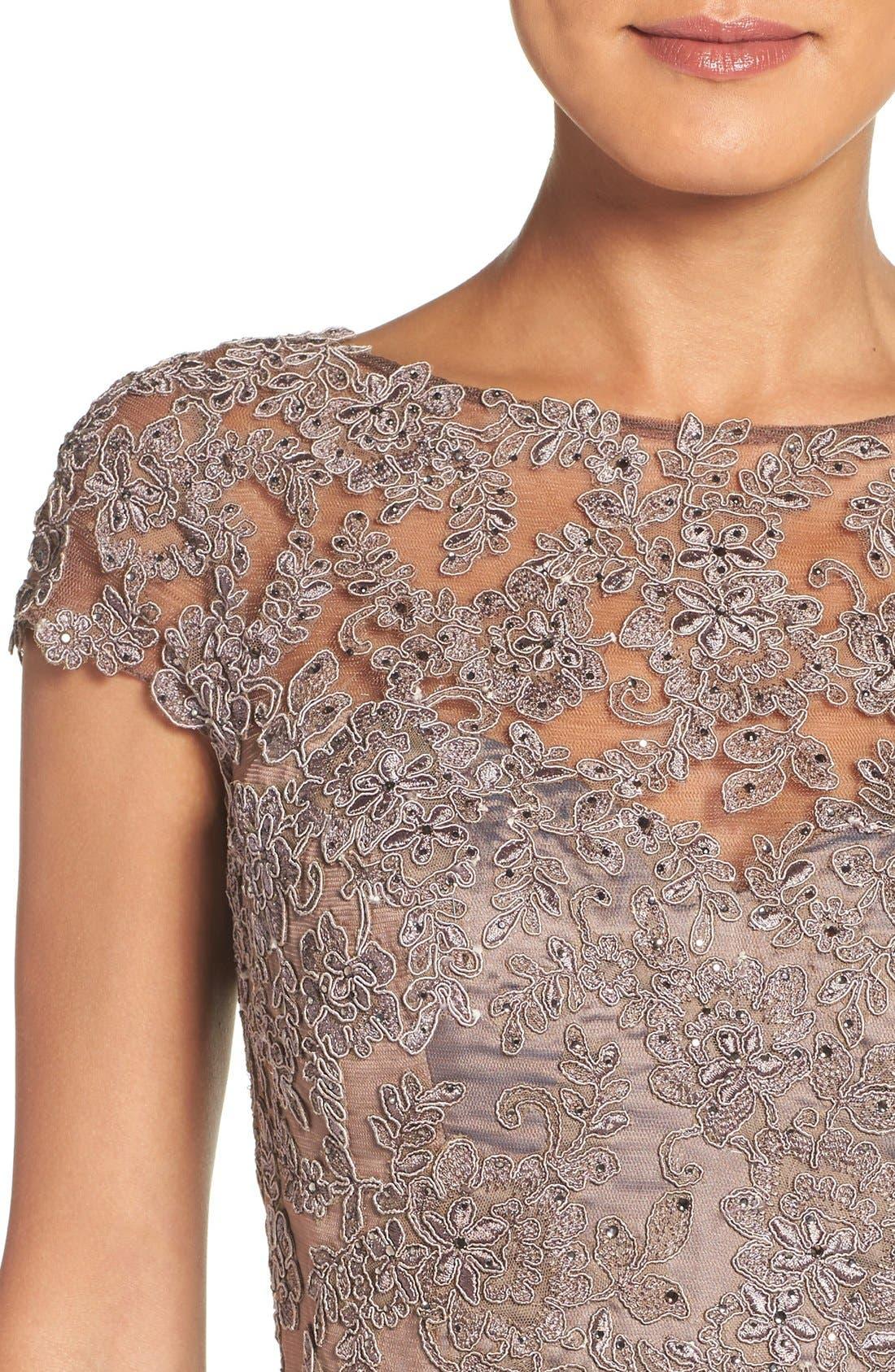 Alternate Image 4  - La Femme Embellished Lace & Satin Ballgown