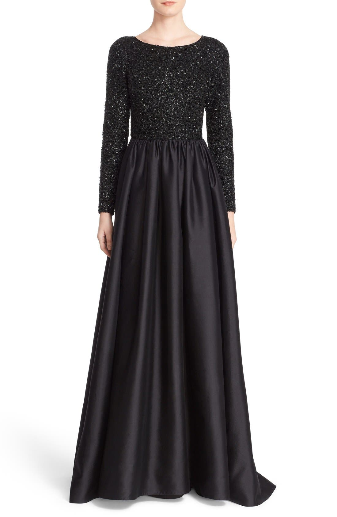 Main Image - Badgley Mischka Couture Embellished Bodice Long Sleeve Gown