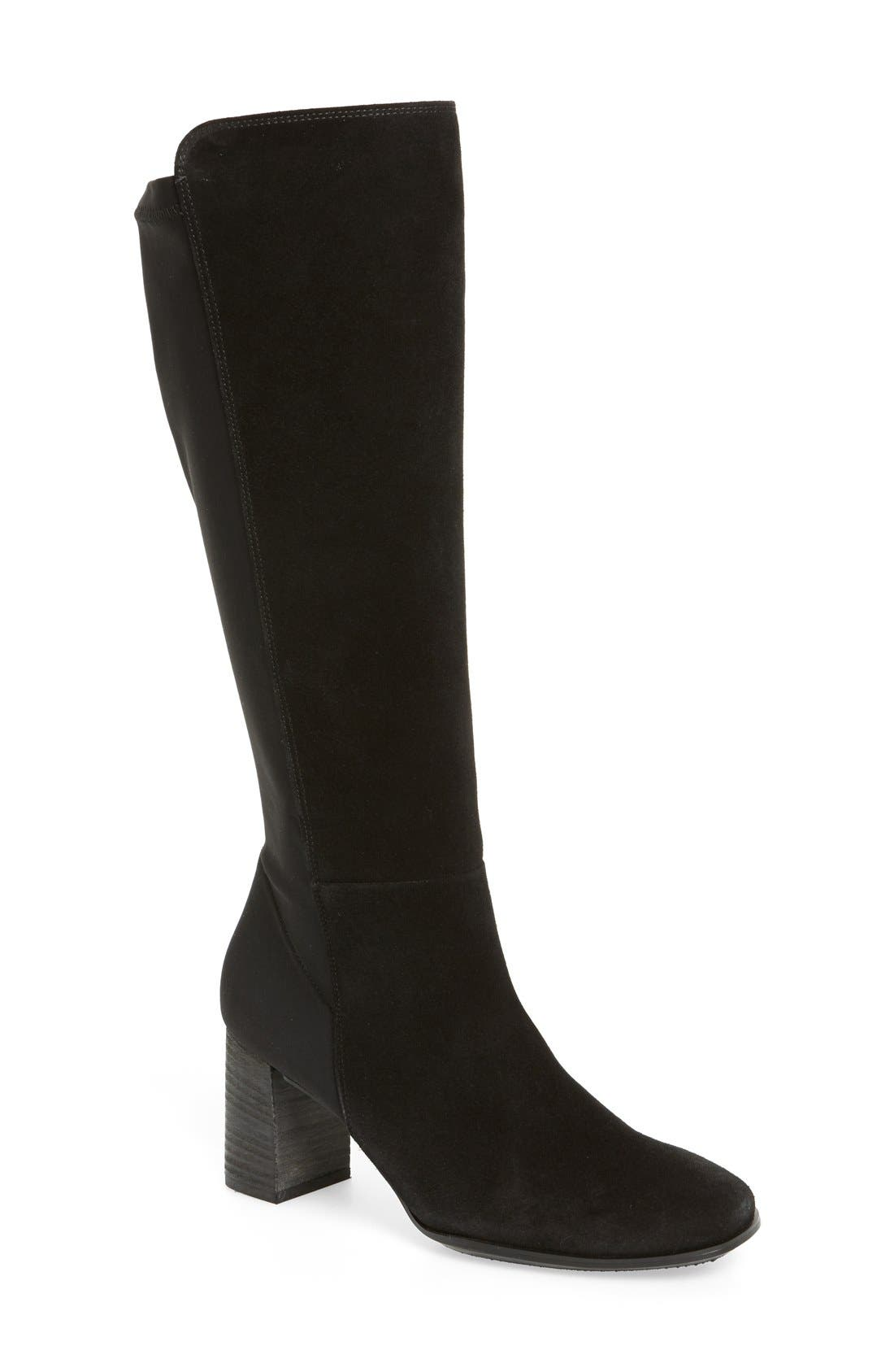 'Jackie' Water Resistant Boot,                             Main thumbnail 1, color,                             Black Suede