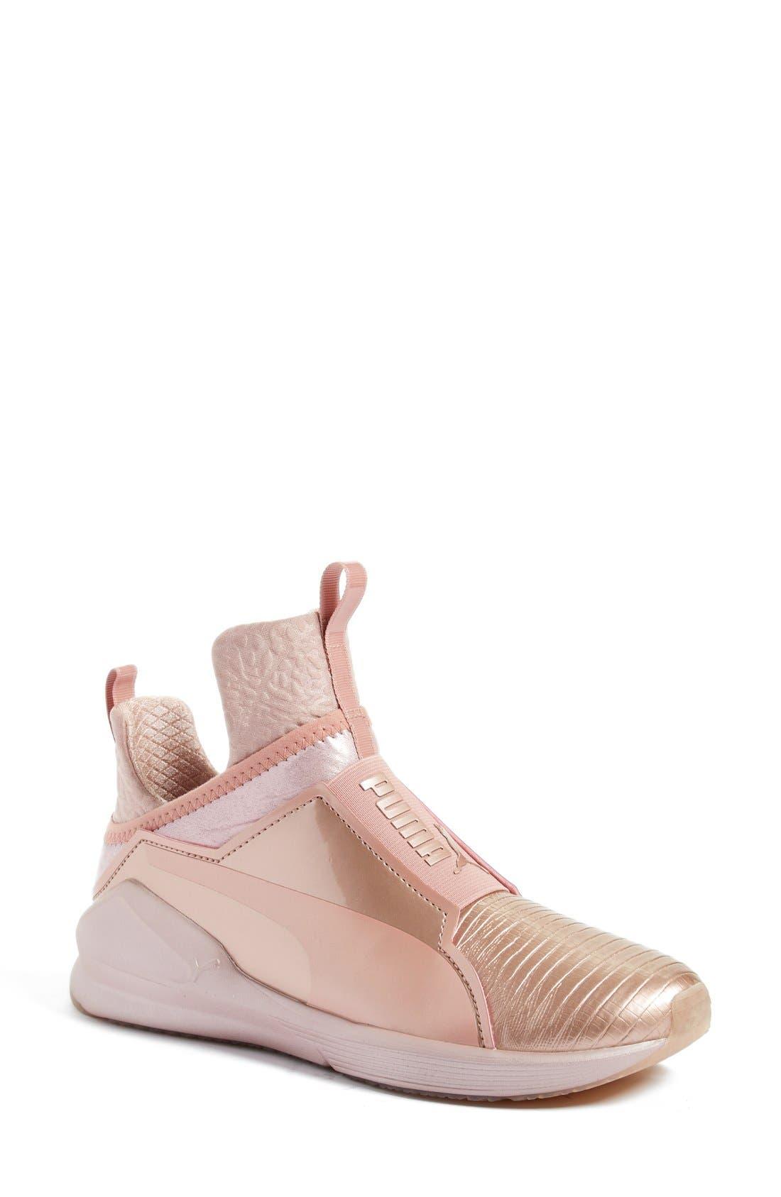 Fierce Metallic High Top Sneaker,                             Main thumbnail 1, color,                             Rose Gold