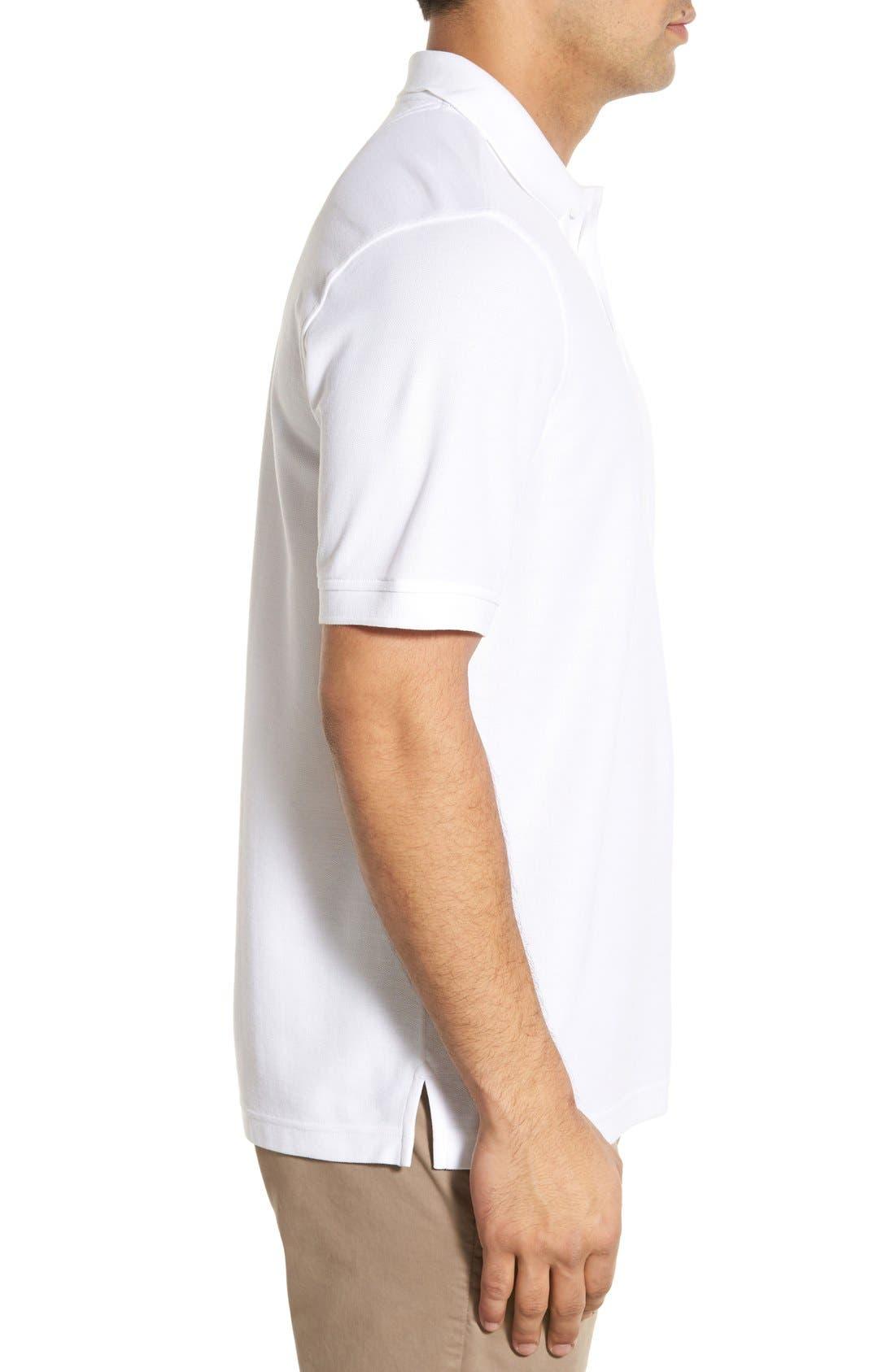 Classic Regular Fit Piqué Polo,                             Alternate thumbnail 3, color,                             White