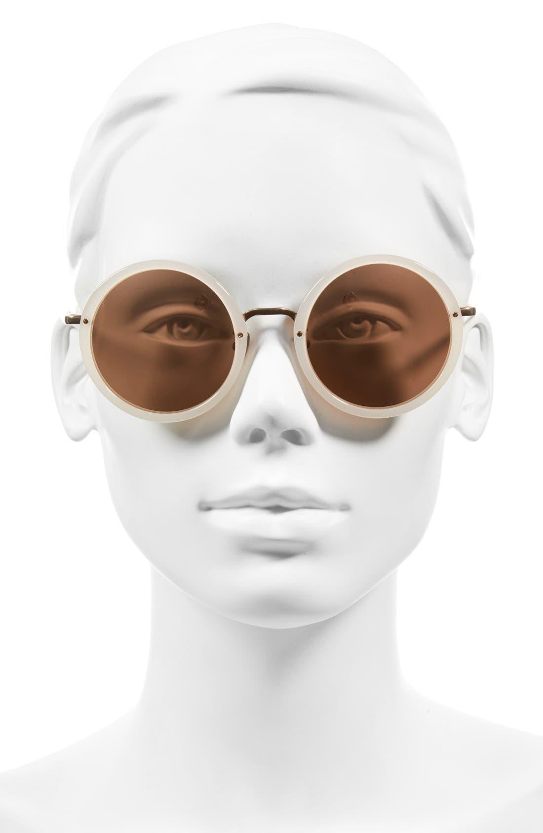 Alternate Image 2  - Linda Farrow 51mm Round 18 Karat Rose Gold Trim Sunglasses
