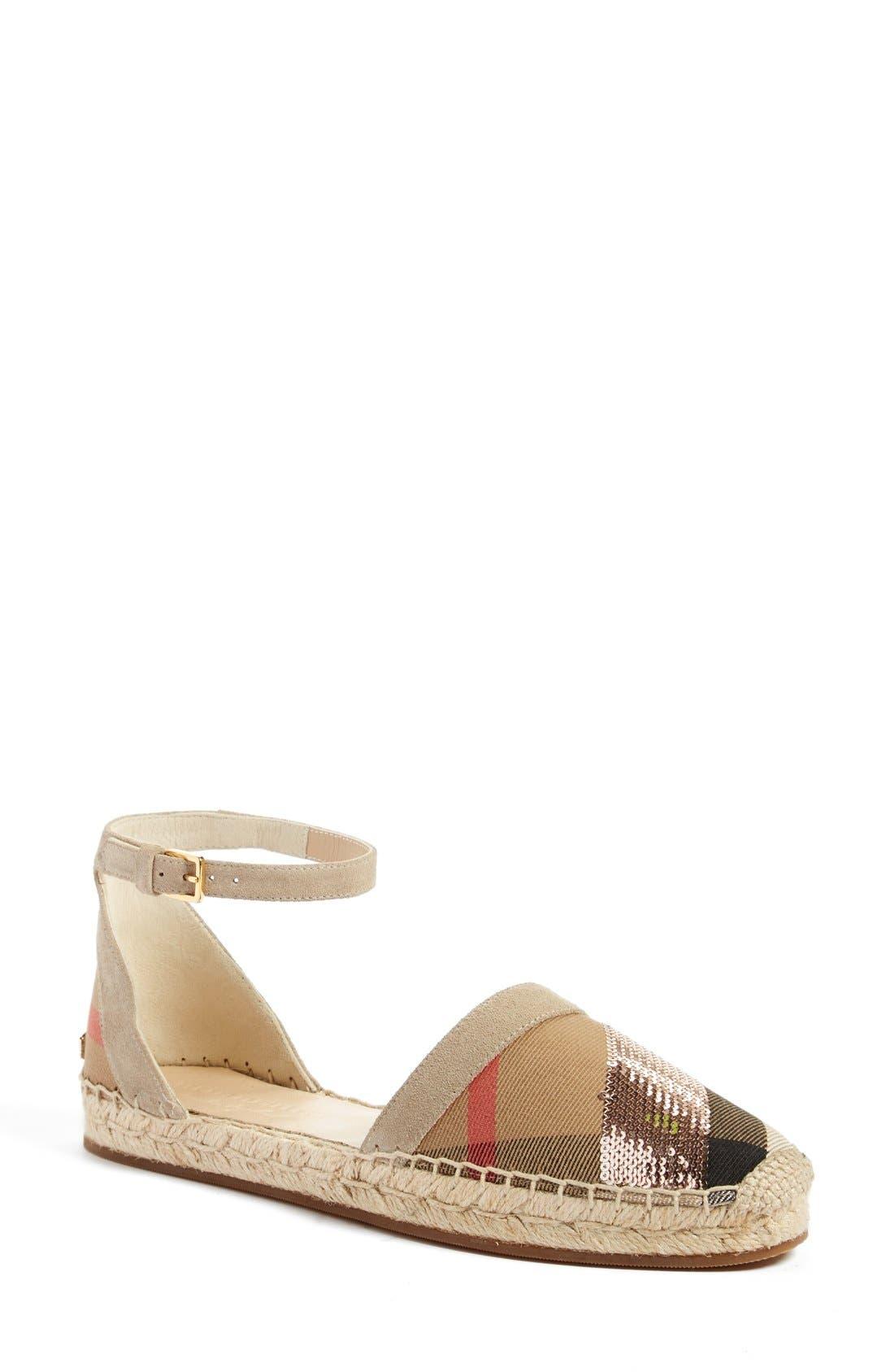 Burberry 'Abbingdon' Ankle Strap Espadrille Sandal (Women)