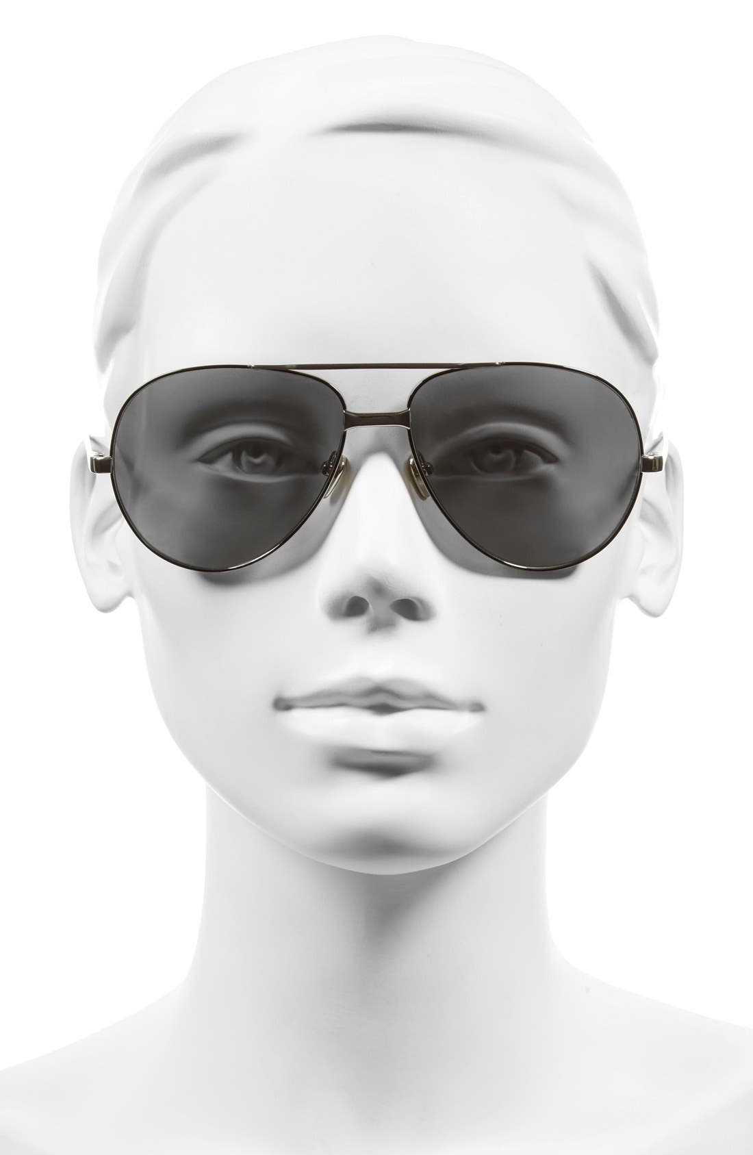 Alternate Image 2  - Linda Farrow 59mm 18 Karat White Gold Trim Aviator Sunglasses