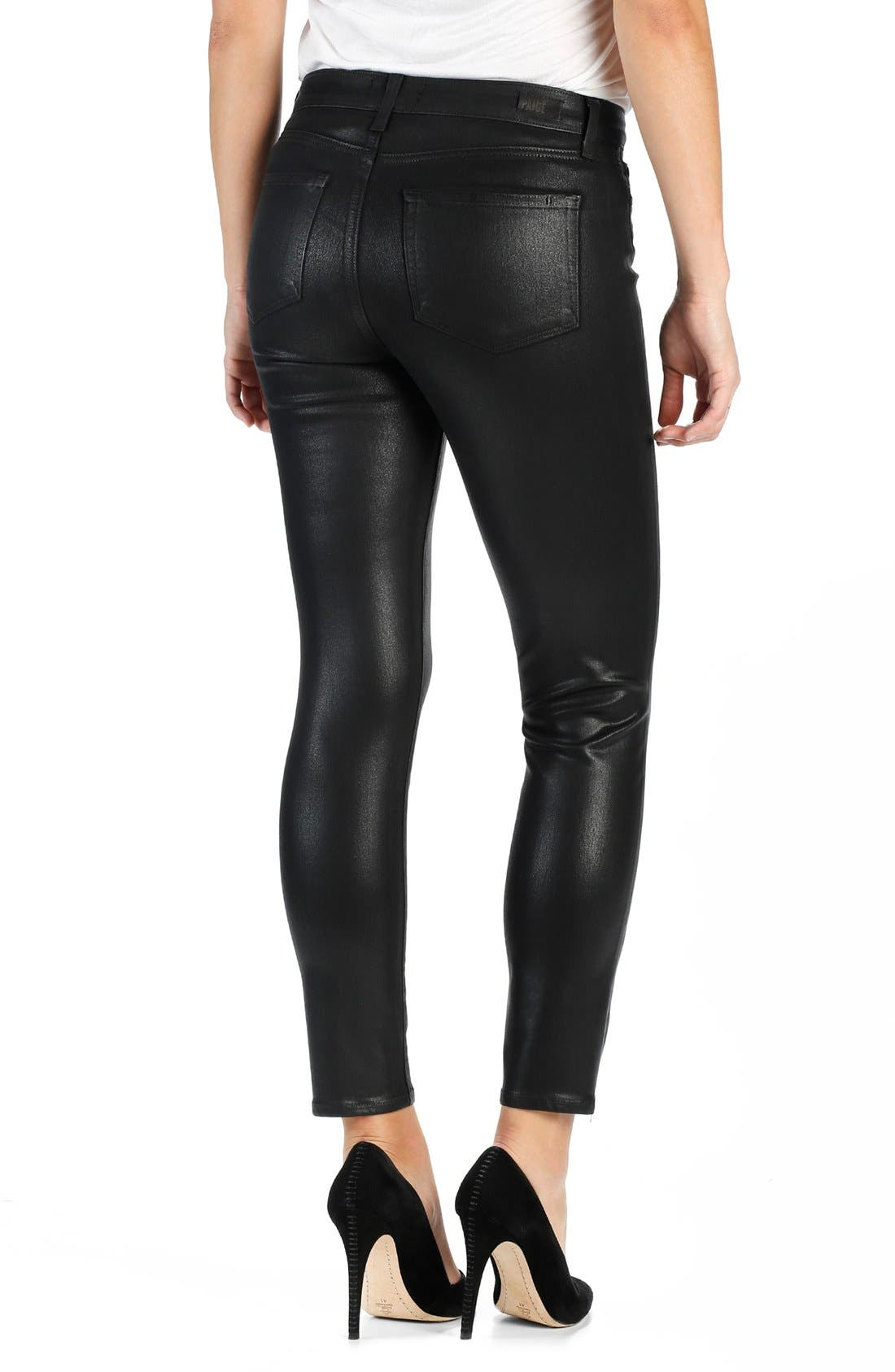 Alternate Image 2  - PAIGE Transcend - Hoxton High Waist Ankle Skinny Jeans (Luxe Black Coated)