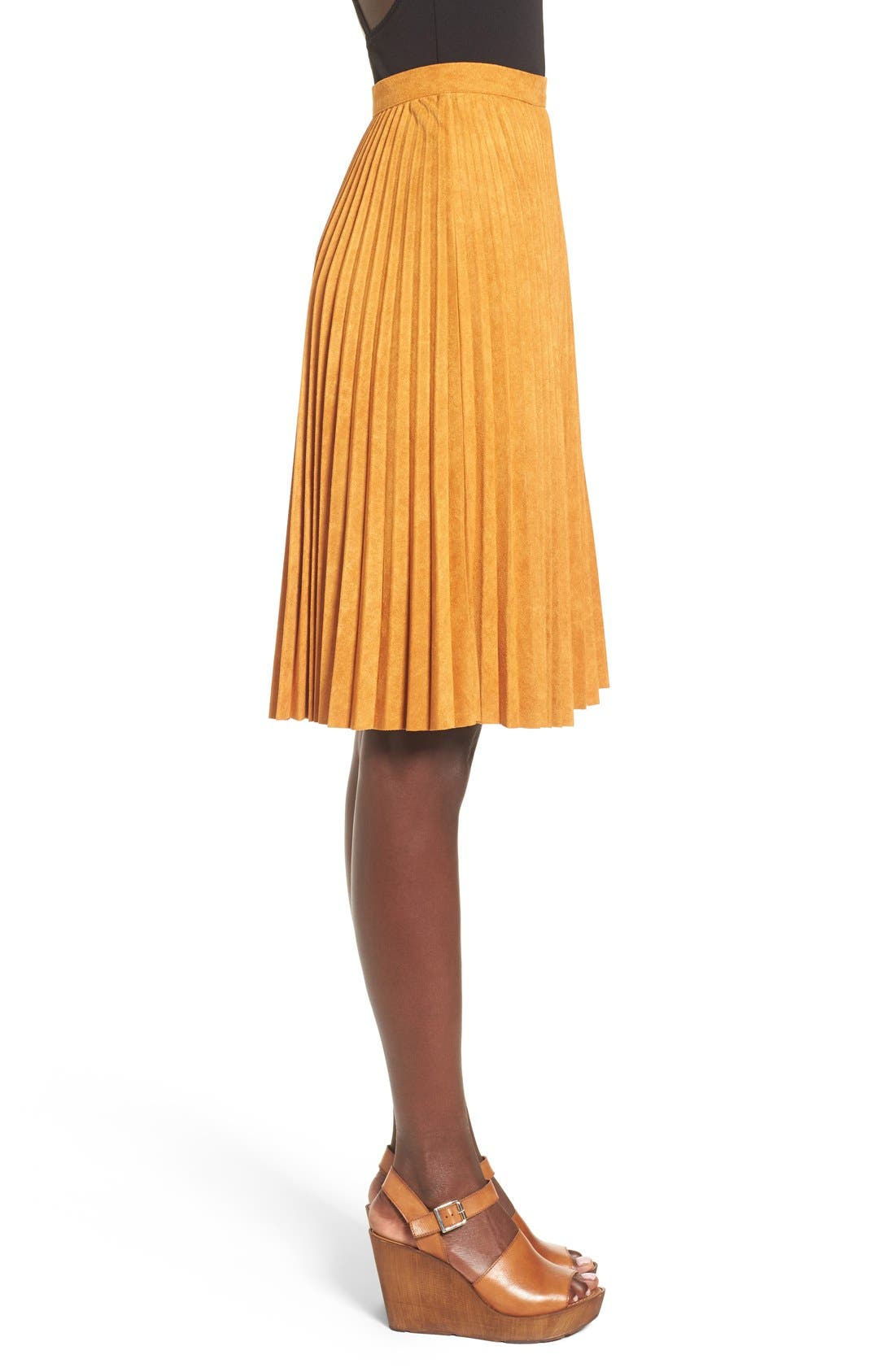 Alternate Image 4  - Storee Pleated Faux Suede Skirt