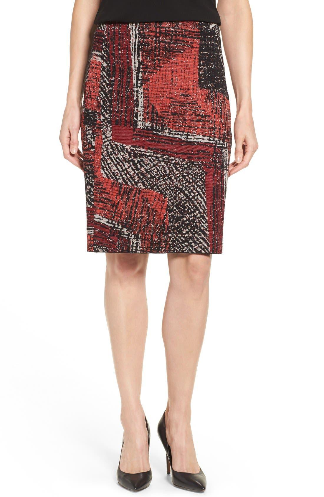 Alternate Image 1 Selected - NIC+ZOE 'Making Marks' Print Knit Pencil Skirt (Regular & Petite)