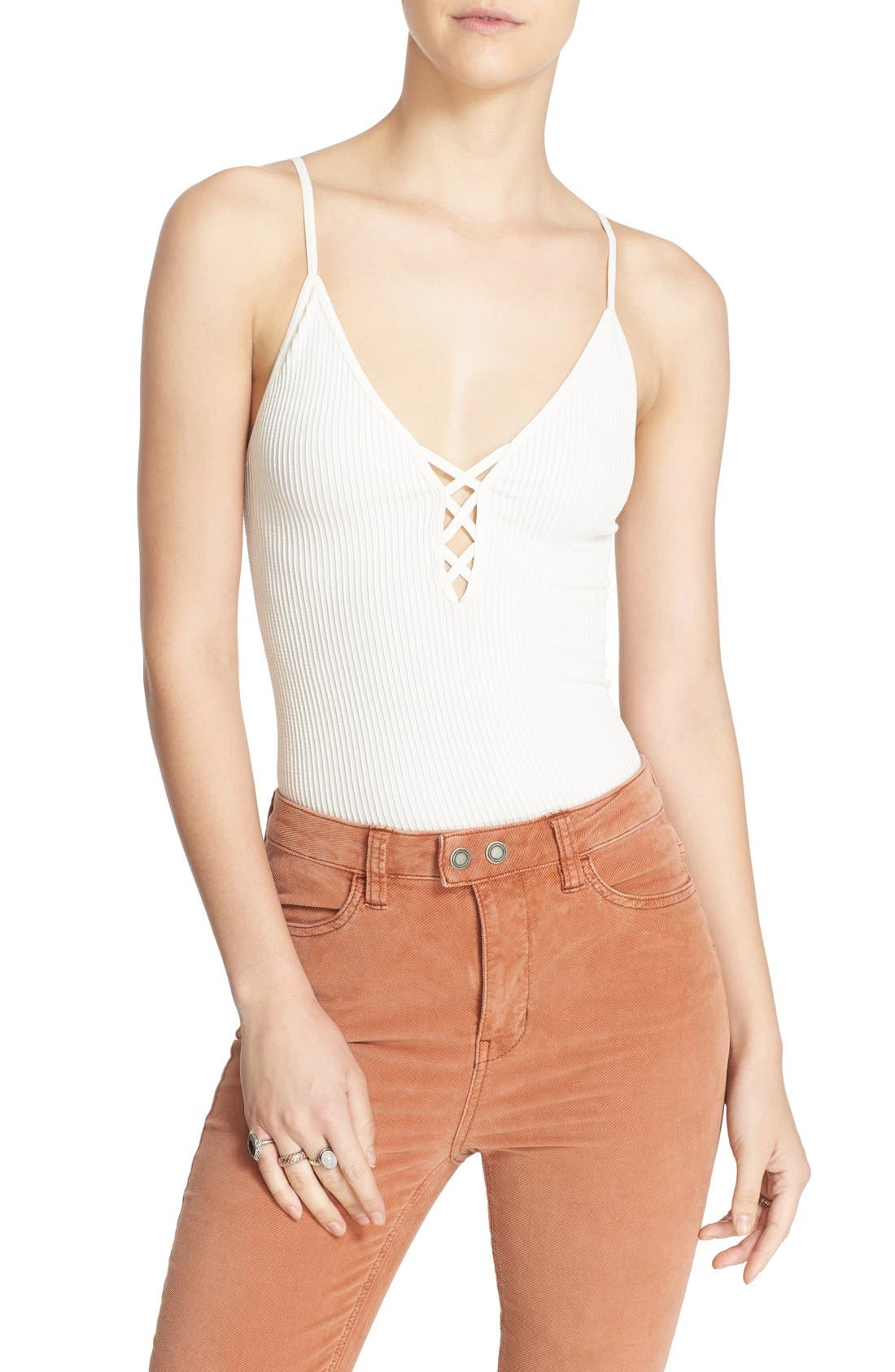 Alternate Image 1 Selected - Free People Lace-Up Rib Knit Camisole