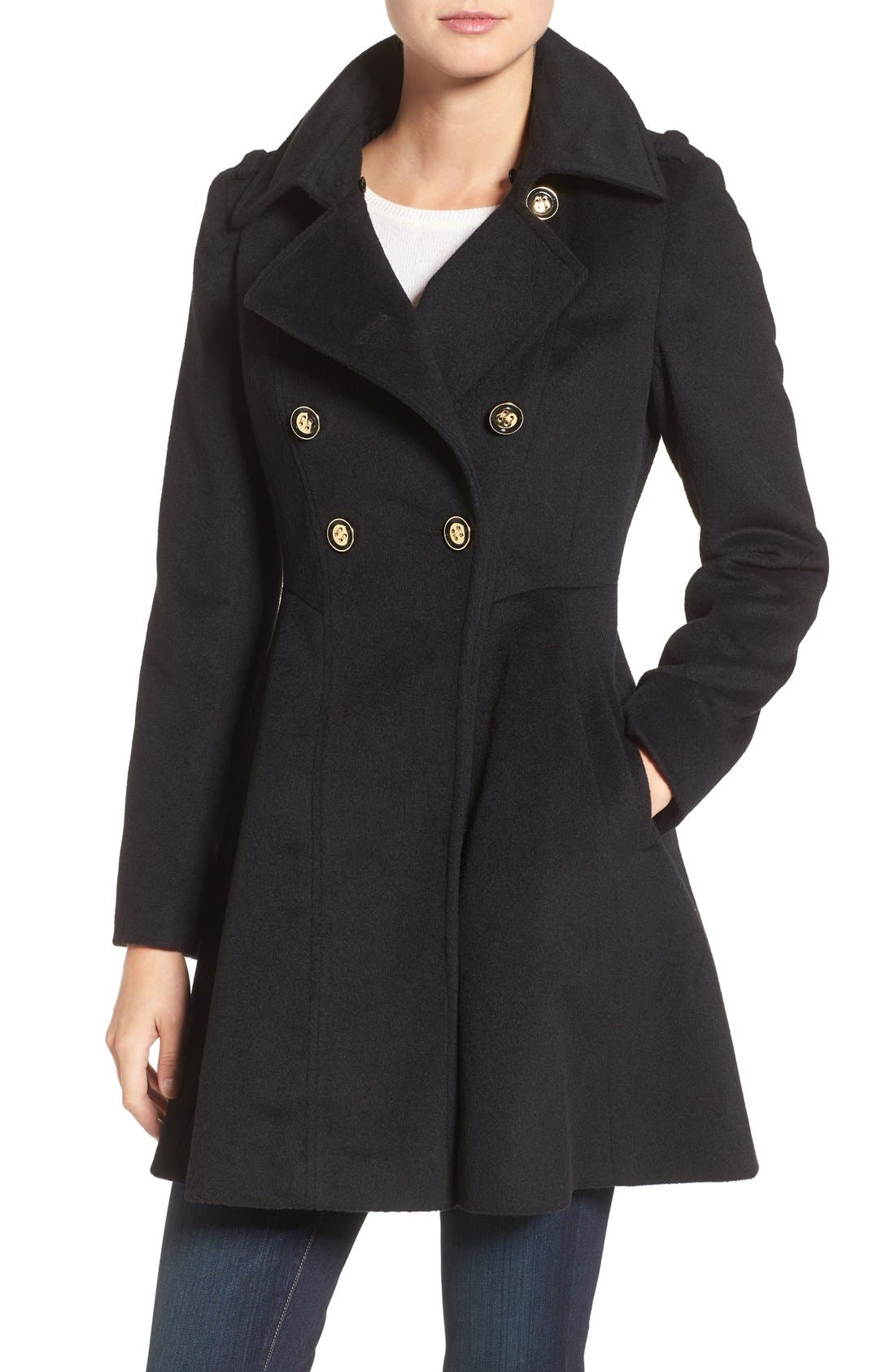 Double Breasted Coat with Faux Fur Collar,                             Alternate thumbnail 4, color,                             Black