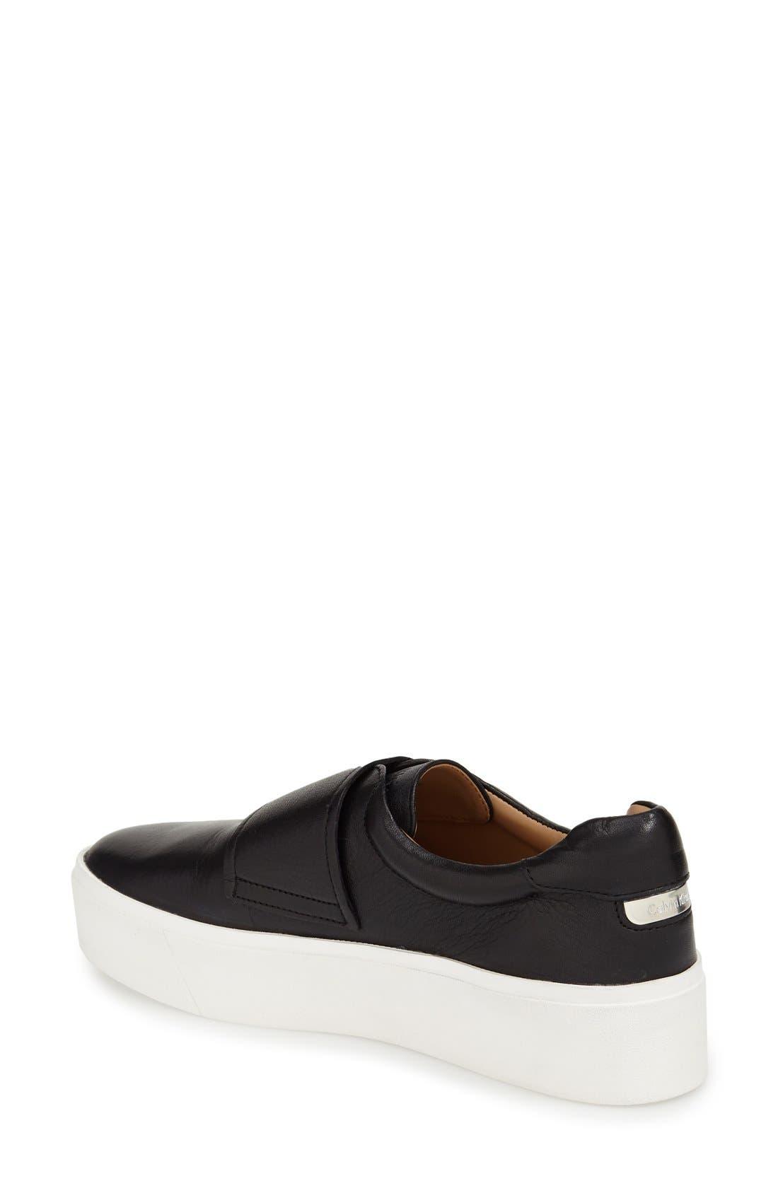 'Jaiden' Platform Sneaker,                             Alternate thumbnail 2, color,                             Black Leather