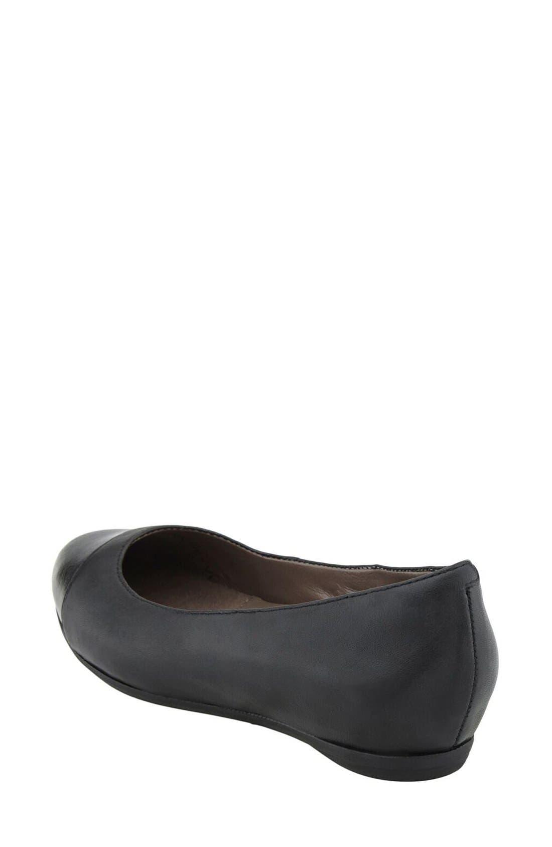 'Hanover' Cap Toe Flat,                             Alternate thumbnail 2, color,                             Black Leather