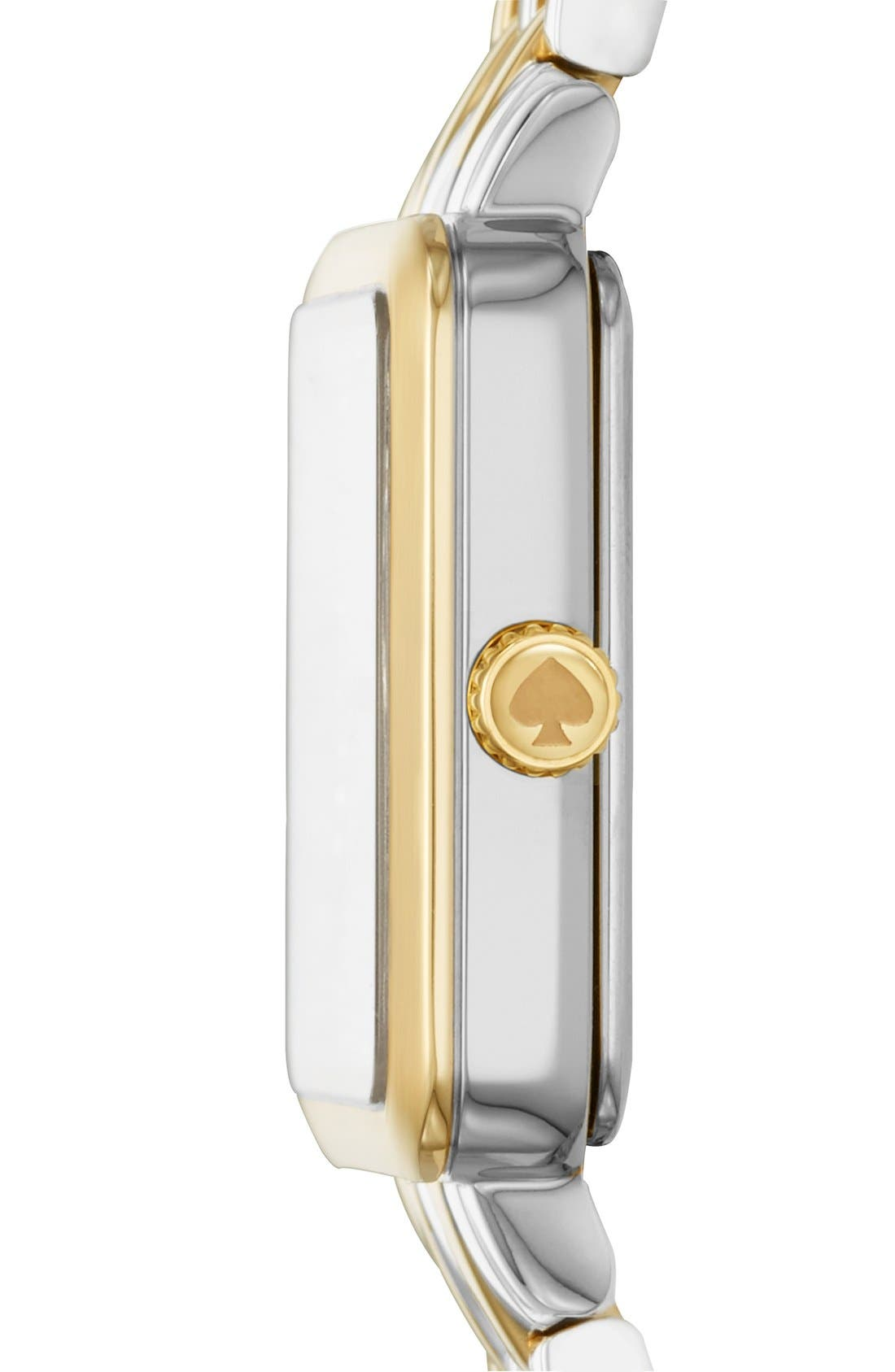 washington square bracelet watch, 25mm,                             Alternate thumbnail 3, color,                             Silver/ Gold/ Mother Of Pearl