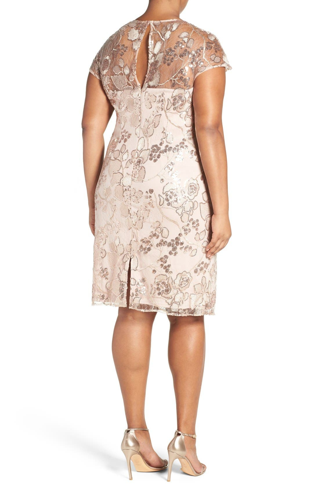 Embellished Embroidered Lace Cocktail Dress,                             Alternate thumbnail 2, color,                             Almond