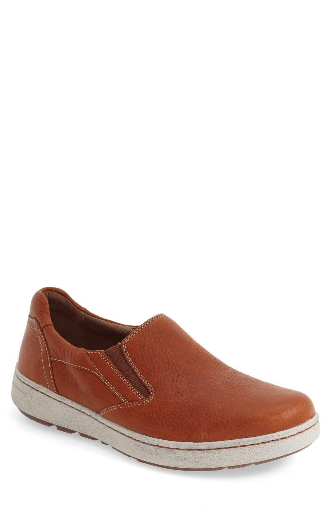 'Viktor' Water Resistant Slip-On Sneaker,                             Main thumbnail 1, color,                             Russet Full Grain Leather