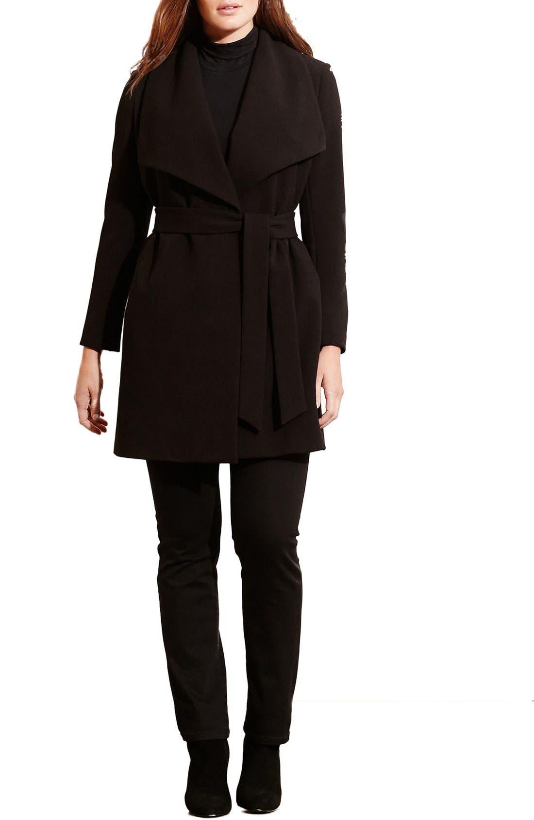 Belted Drape Front Coat,                             Alternate thumbnail 3, color,                             Black