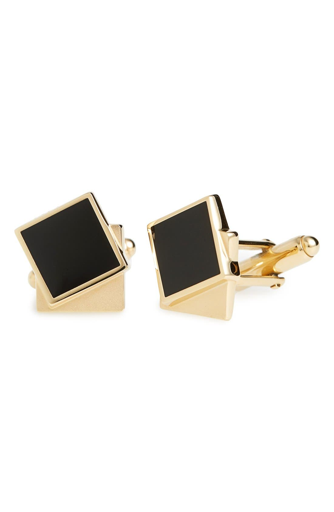 Enameled Double Square Cuff Links,                         Main,                         color, Gold/Black