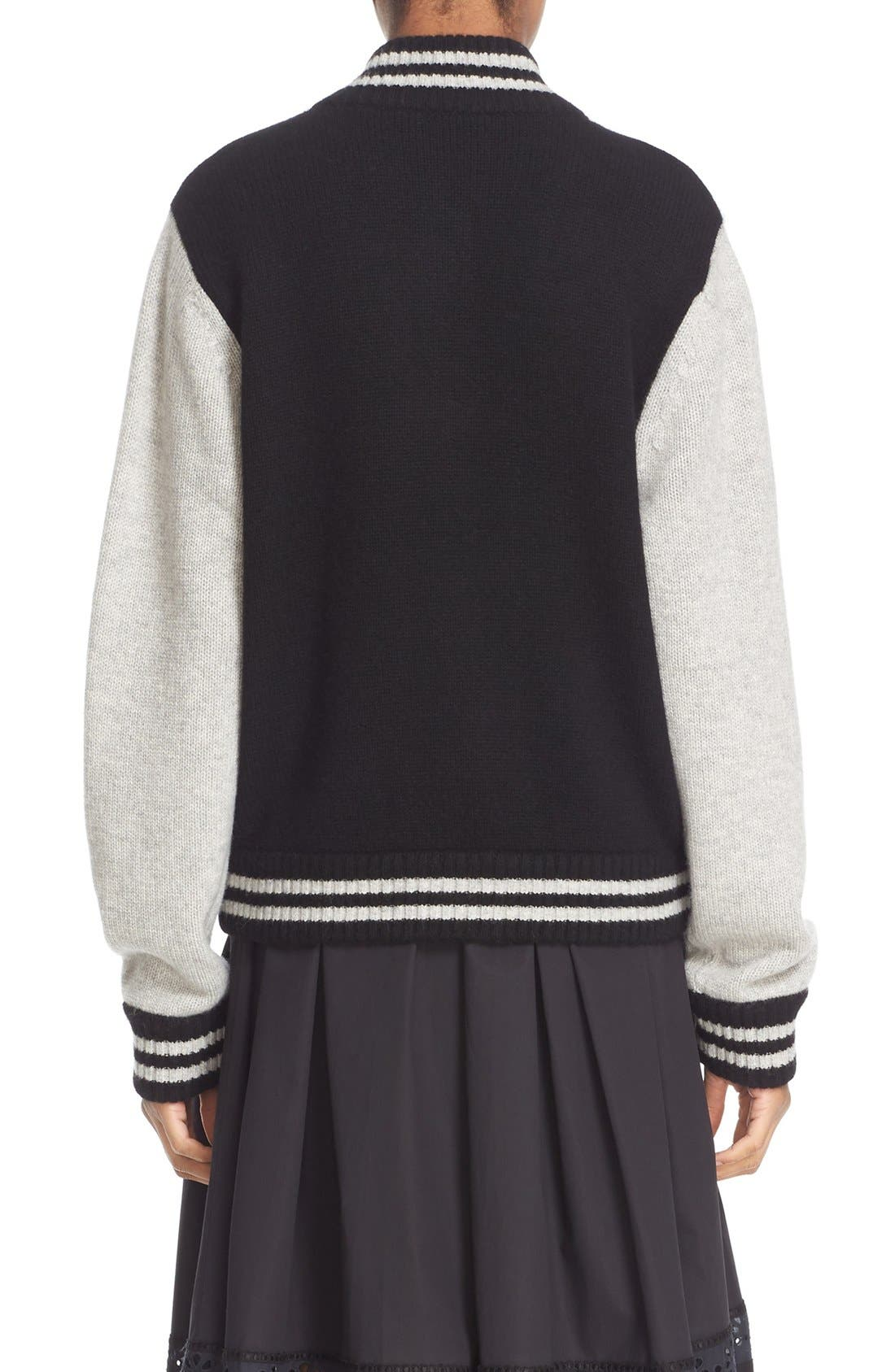 Stripe Detail Wool & Cashmere Knit Varsity Jacket,                             Alternate thumbnail 2, color,                             Black