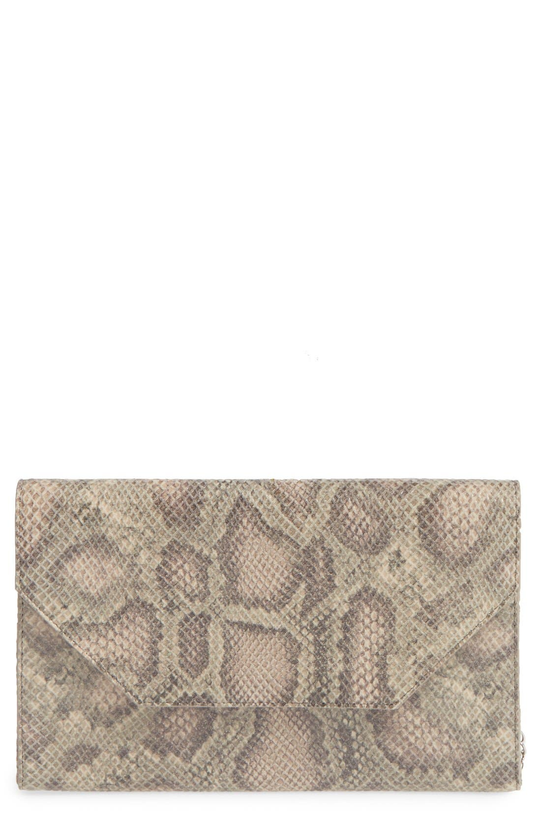 Angled Leather Day Clutch,                             Main thumbnail 1, color,                             Brown Falcon Snake