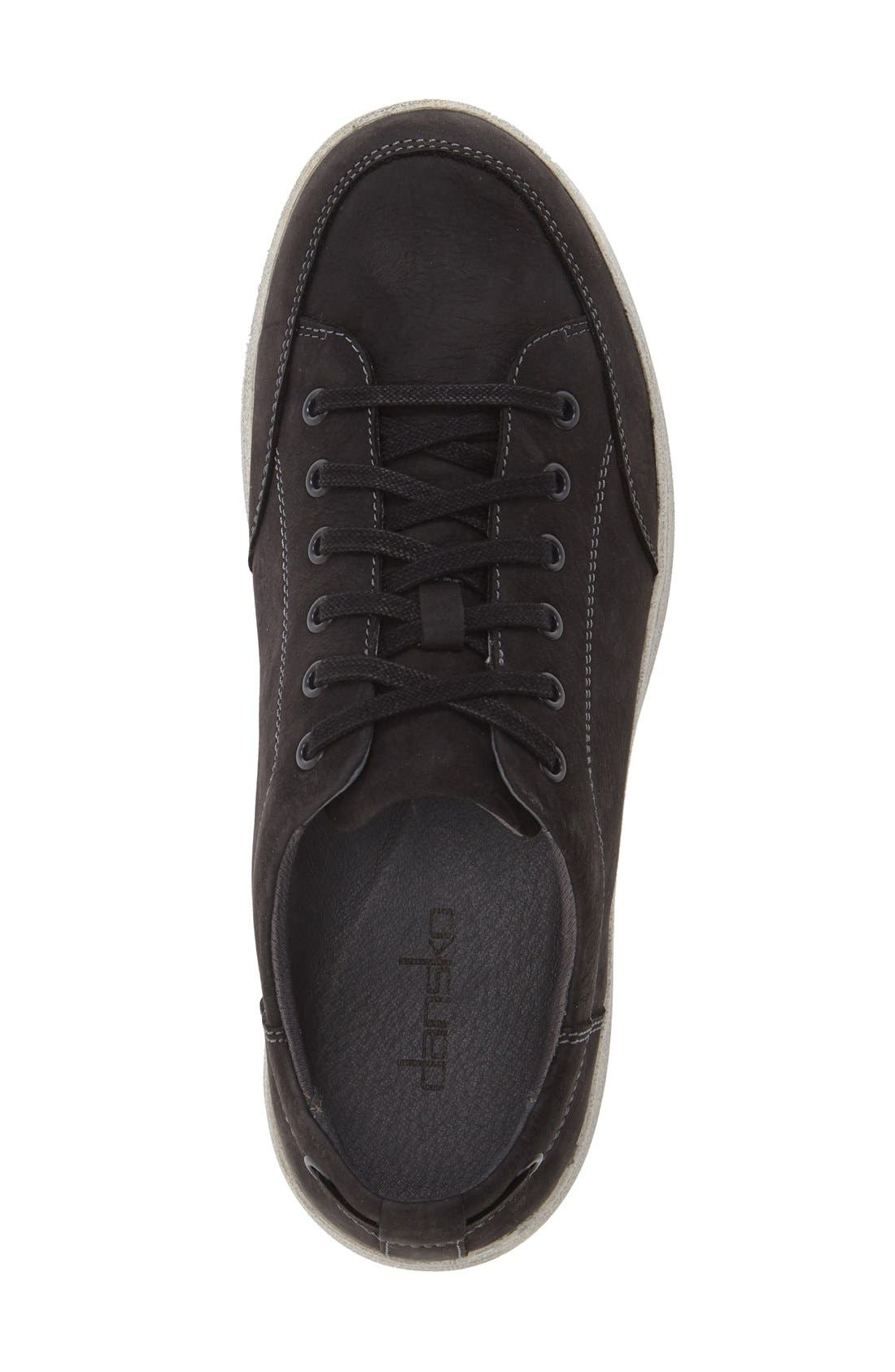 'Vaughn' Water-Resistant Sneaker,                             Alternate thumbnail 3, color,                             Black Milled Nubuck Leather