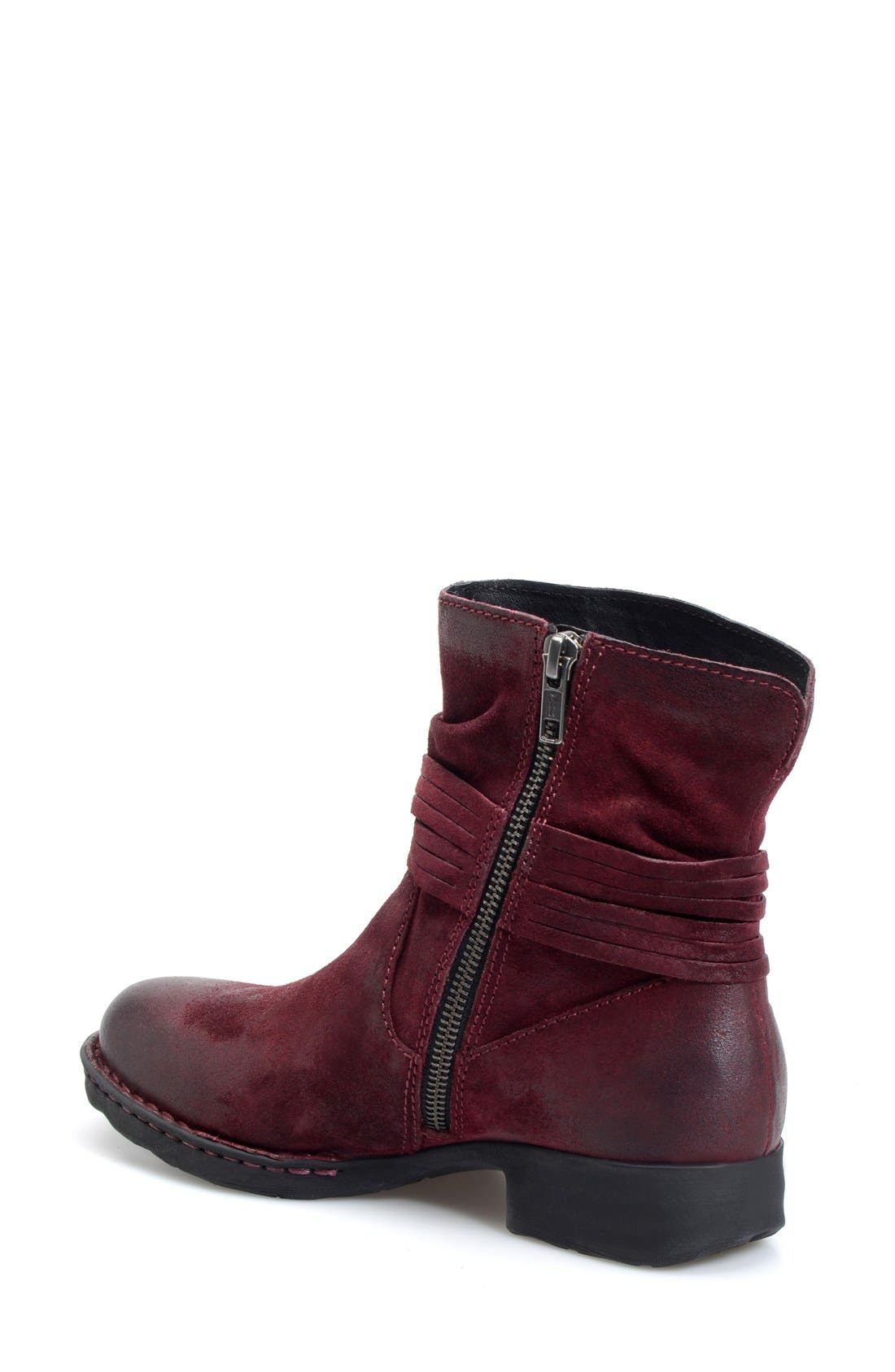 'Cross' Bootie,                             Alternate thumbnail 2, color,                             Amarena Distressed Leather