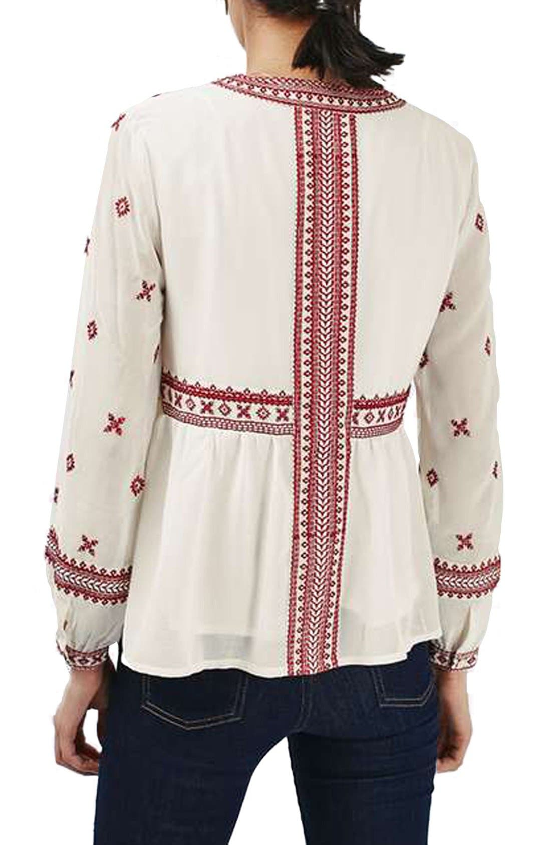 Alternate Image 3  - Topshop Embroidered Peasant Top